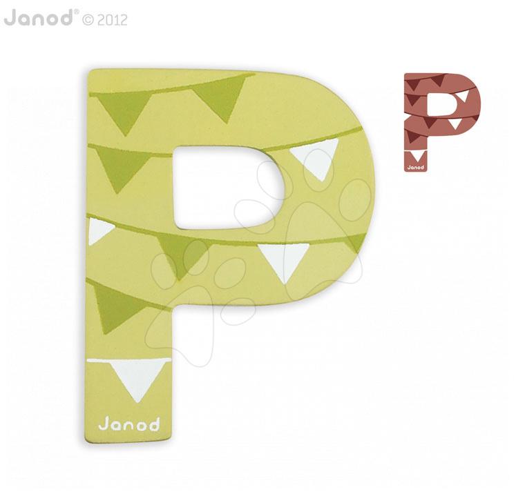 Dřevěné písmeno P ABCDeco Janod lepící 8 cm zelené/hnědé od 3 let