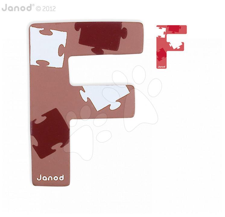 Drevené písmeno F ABCDeco Janod lepiace 9 cm hnedé/červené od 3 rokov
