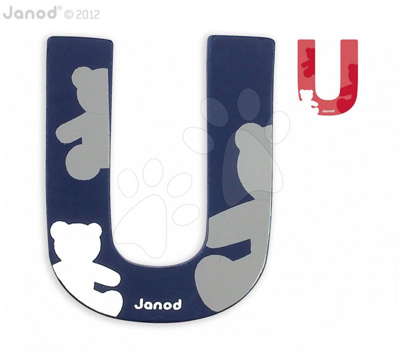 Dřevěné písmeno U ABCDeco Janod lepící 9 cm modré/červené od 3 let