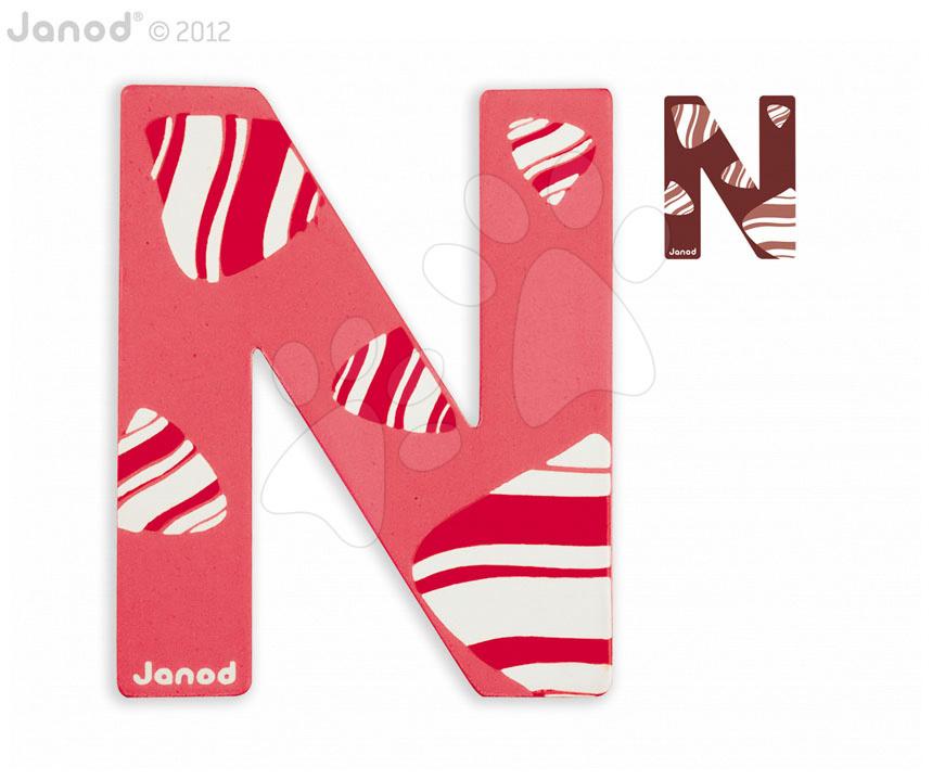 Drevené písmeno N ABCDeco Janod lepiace 9 cm červené/hnedé od 3 rokov