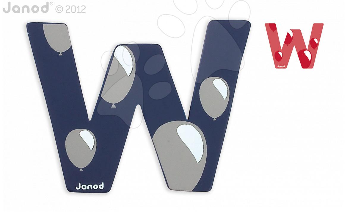 Dřevěné písmeno W ABCDeco Janod lepící 9 cm modré/červené od 3 let