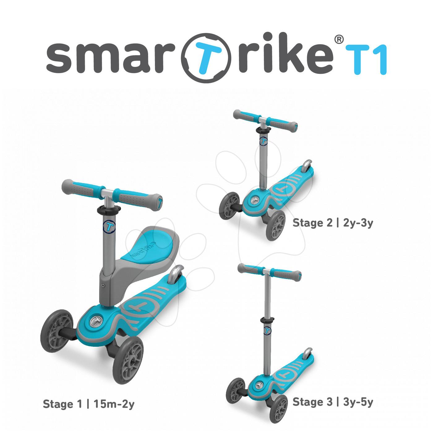 Roller és bébitaxi T1 smarTrike 3in1 T-lock rendszerrel, állítható üléssel és kormánnyal 15 hó-tól
