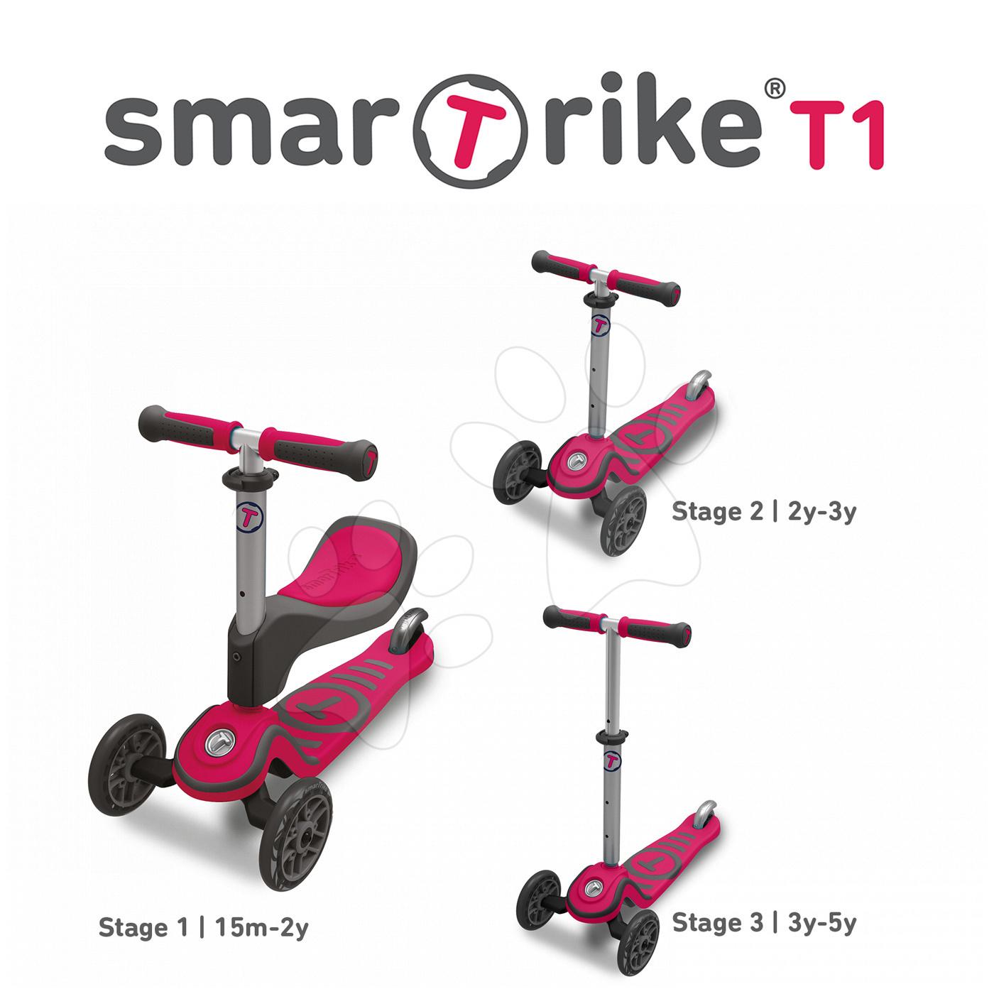 Trotinetă şi babytaxiu T1 smarTrike 3in1 cu sistem T-lock, cu scaun reglabil şi cu ghidon gri-roz de la 15 luni