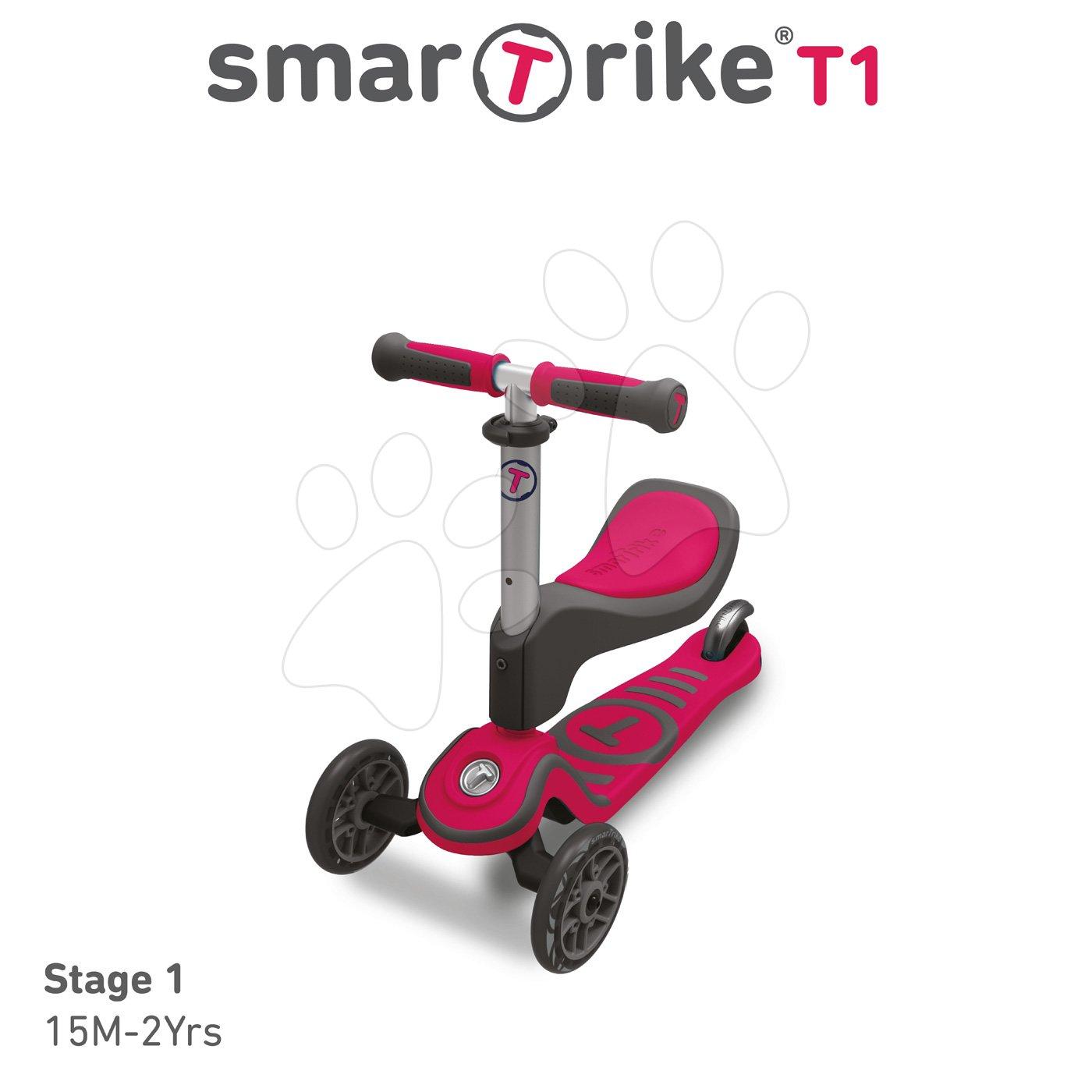 Roller és bébitaxi T1 smarTrike 3in1 T-lock rendszerrel, állítható üléssel és kormánnyal szürkés-rózsaszín 15 hó-tól