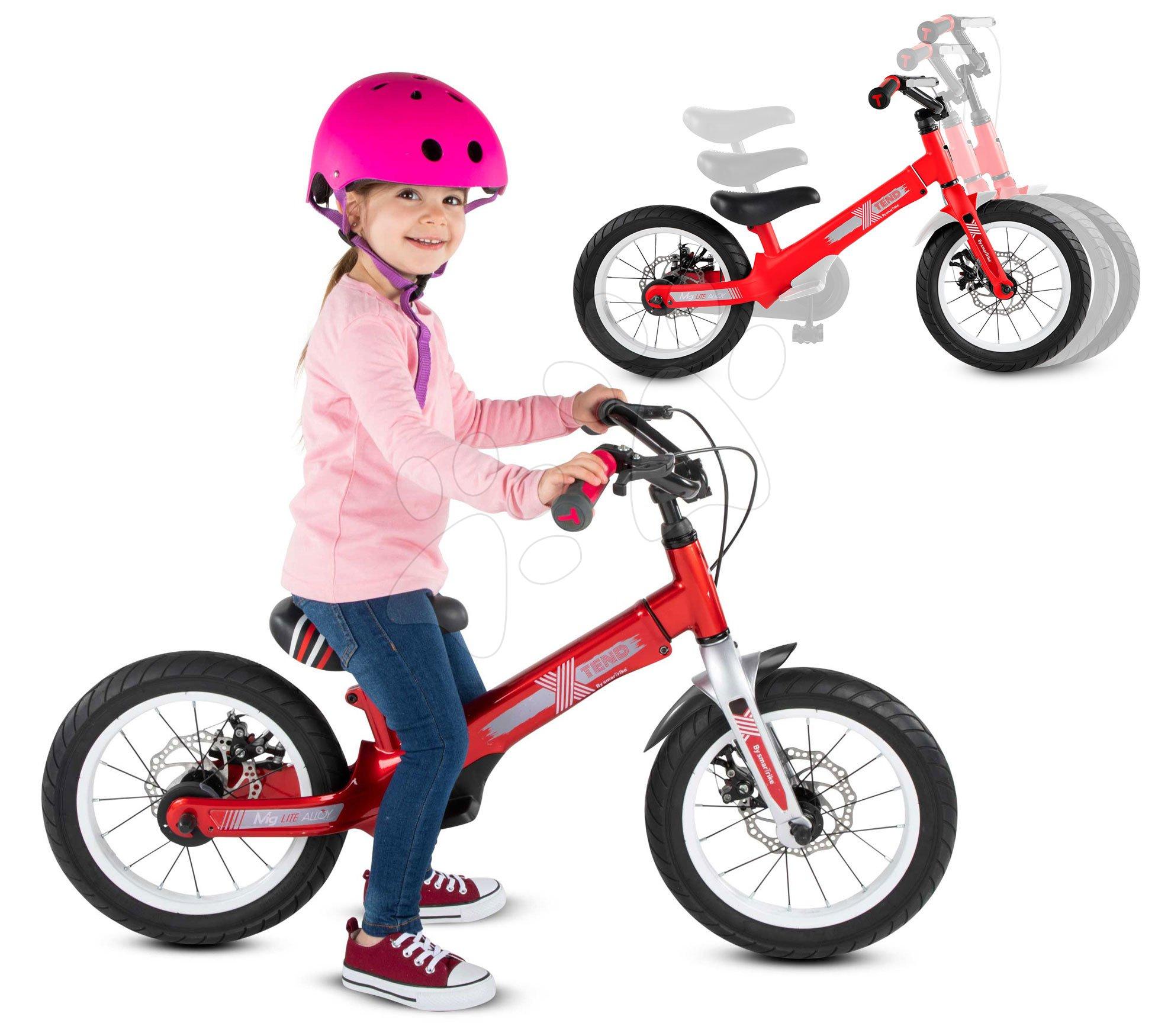 Otroška kolesa 12 - Kolo Xtend Mg+Bike Red smarTrike razširitveni okvir iz magnezija in 2 zavorna diska od 3-7 leta