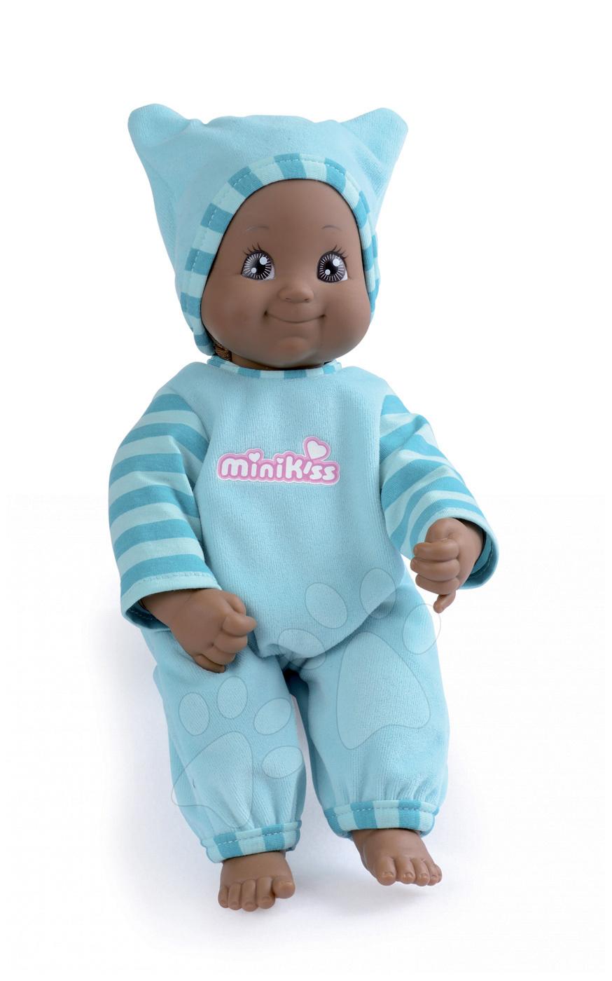 Bábiky od 9 mesiacov - Bábika so zvukom MiniKiss Kreolka Smoby 27 cm modrá od 12 mes