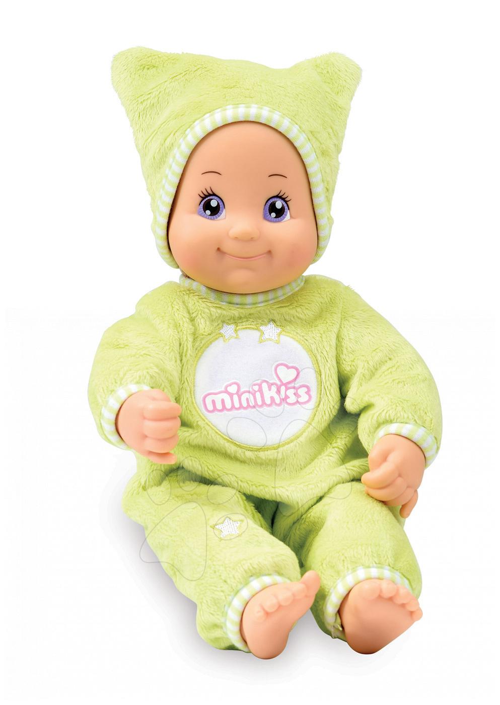 Bábiky od 9 mesiacov - Bábika so zvukom a svetlom DouDou MiniKiss Smoby 27 cm zelená od 12 mes