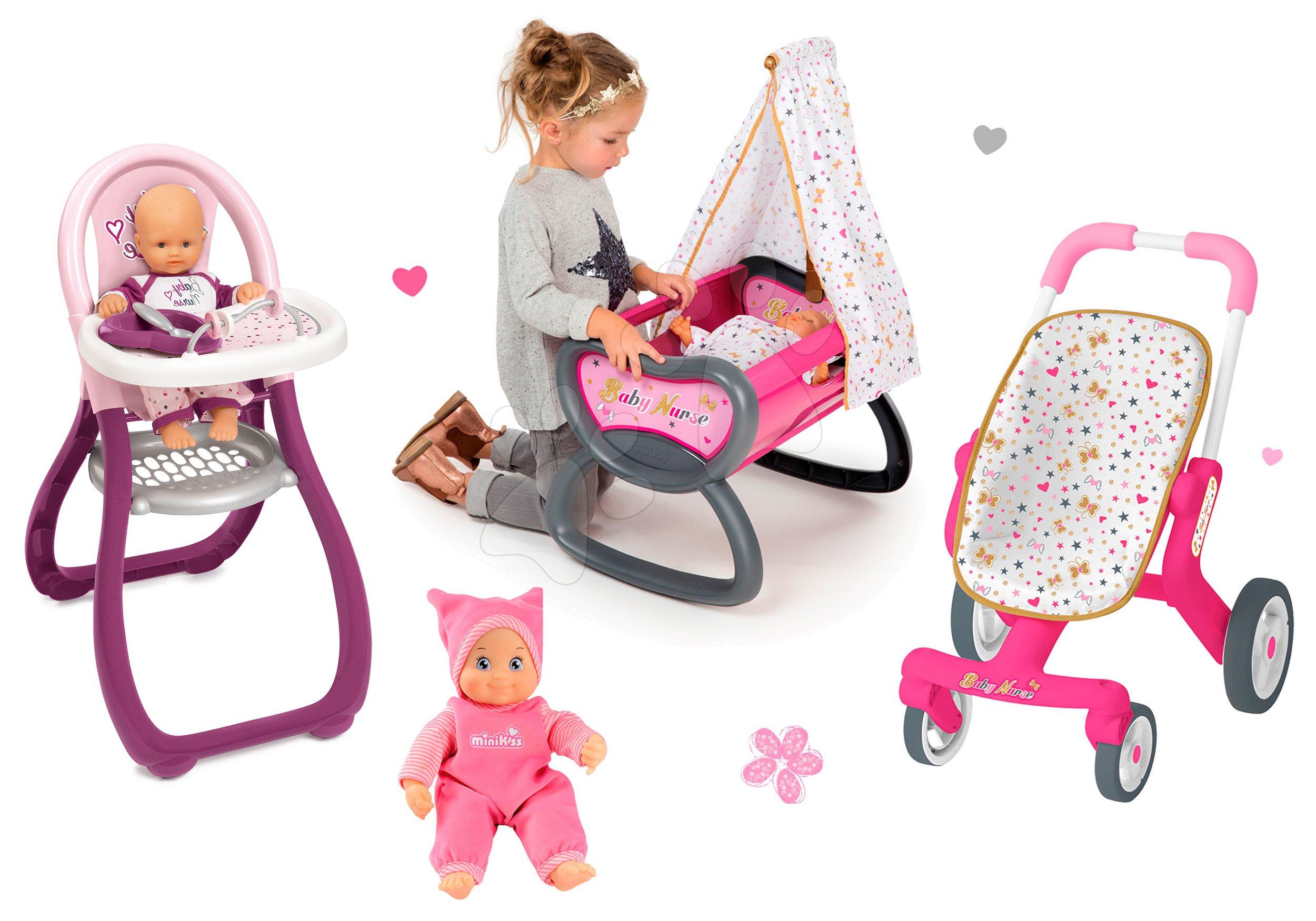 Bábiky s doplnkami sety - Set bábika Minikiss Smoby 27 cm, jedálenská stolička, kolíska s baldachýnom a kočík pre bábiku (53,5 cm rúčka) od 18 mes