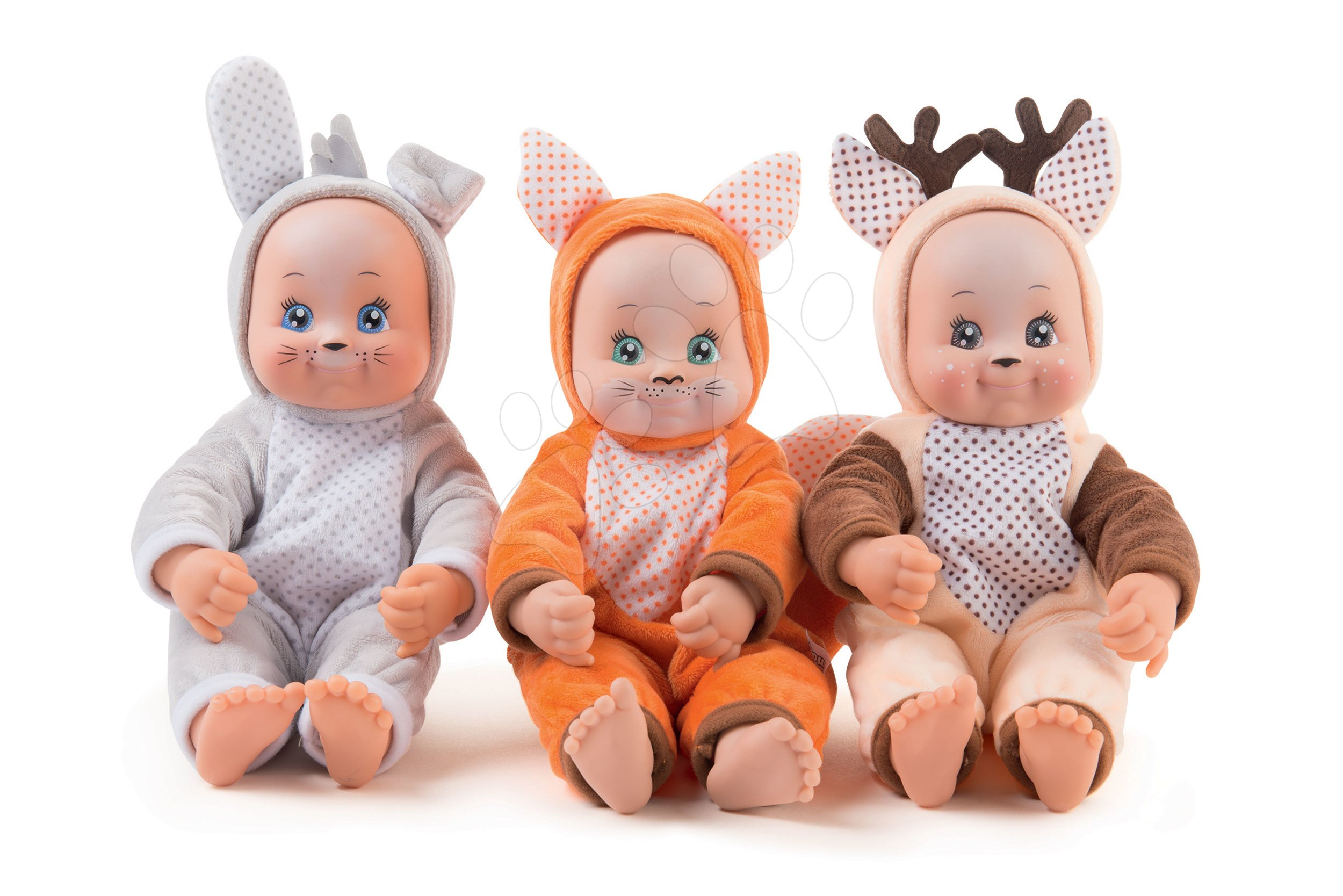 Bábiky od 9 mesiacov - Bábika v kostýme zvieratká Animal Doll Minikiss Smoby 27 cm so zvukom 3 druhy Líška Zajac Srnček od 12 mes