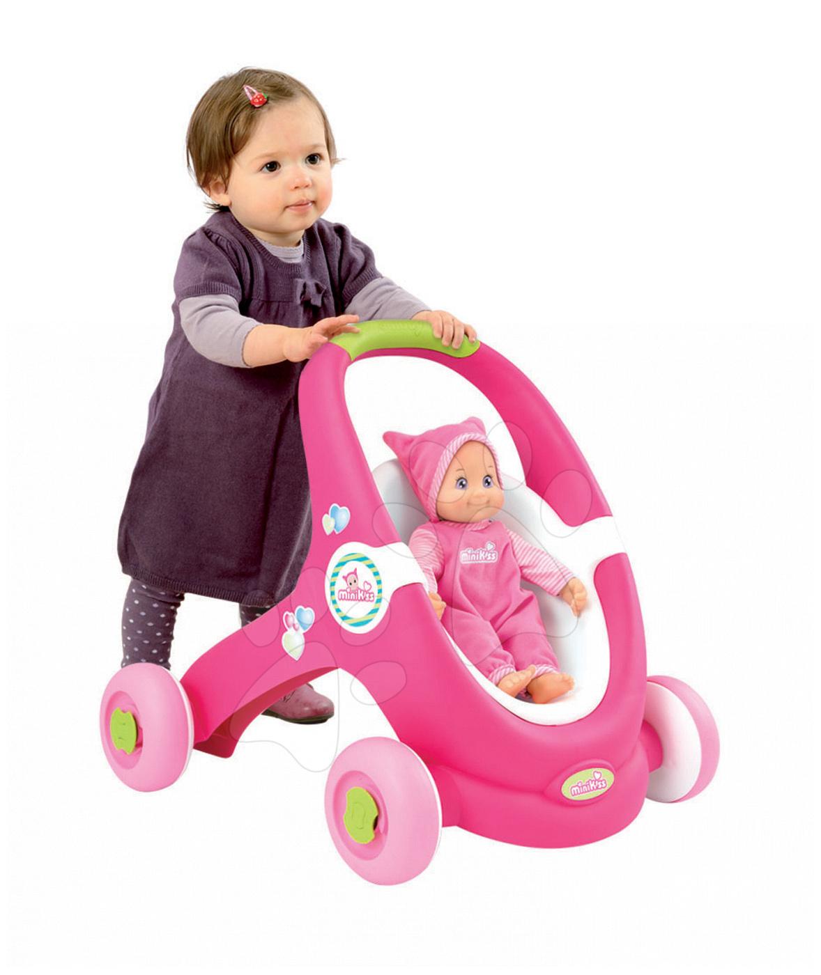 Kočárky pro panenky od 12 měsíců - Chodítko a kočárek pro panenku 2v1 MiniKiss Smoby růžové s brzdou od 12 měsíců