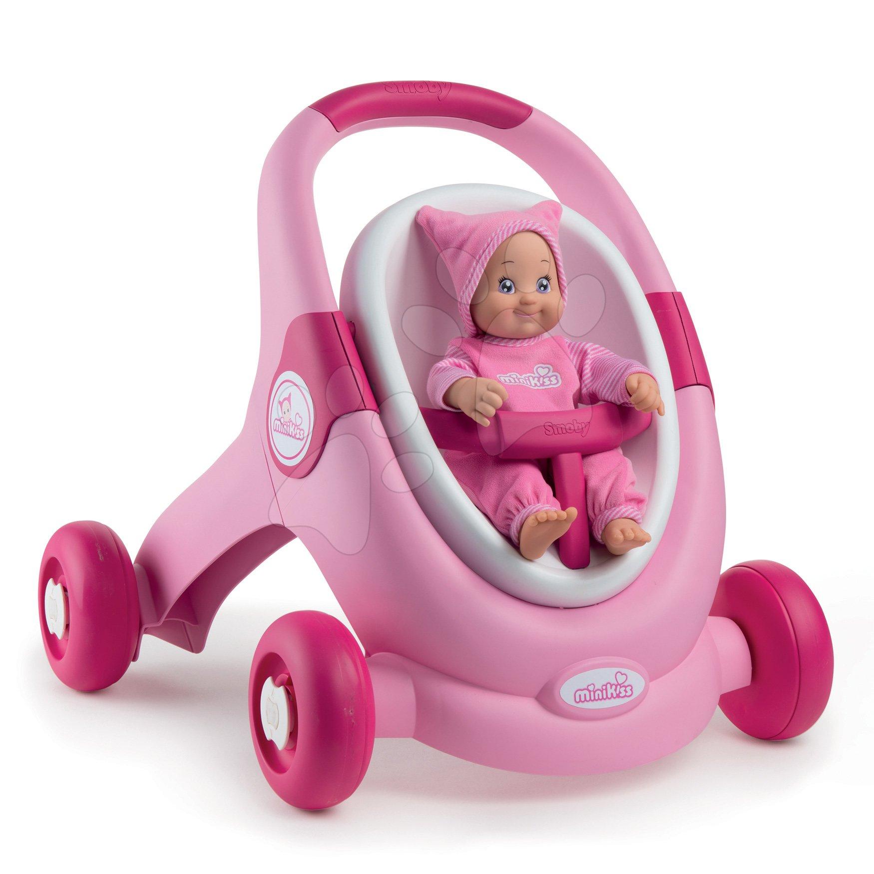 Chodítko a kočík s autosedačkou MiniKiss 3v1 Smoby s brzdou a bezpečnostným pásom od 12 mes