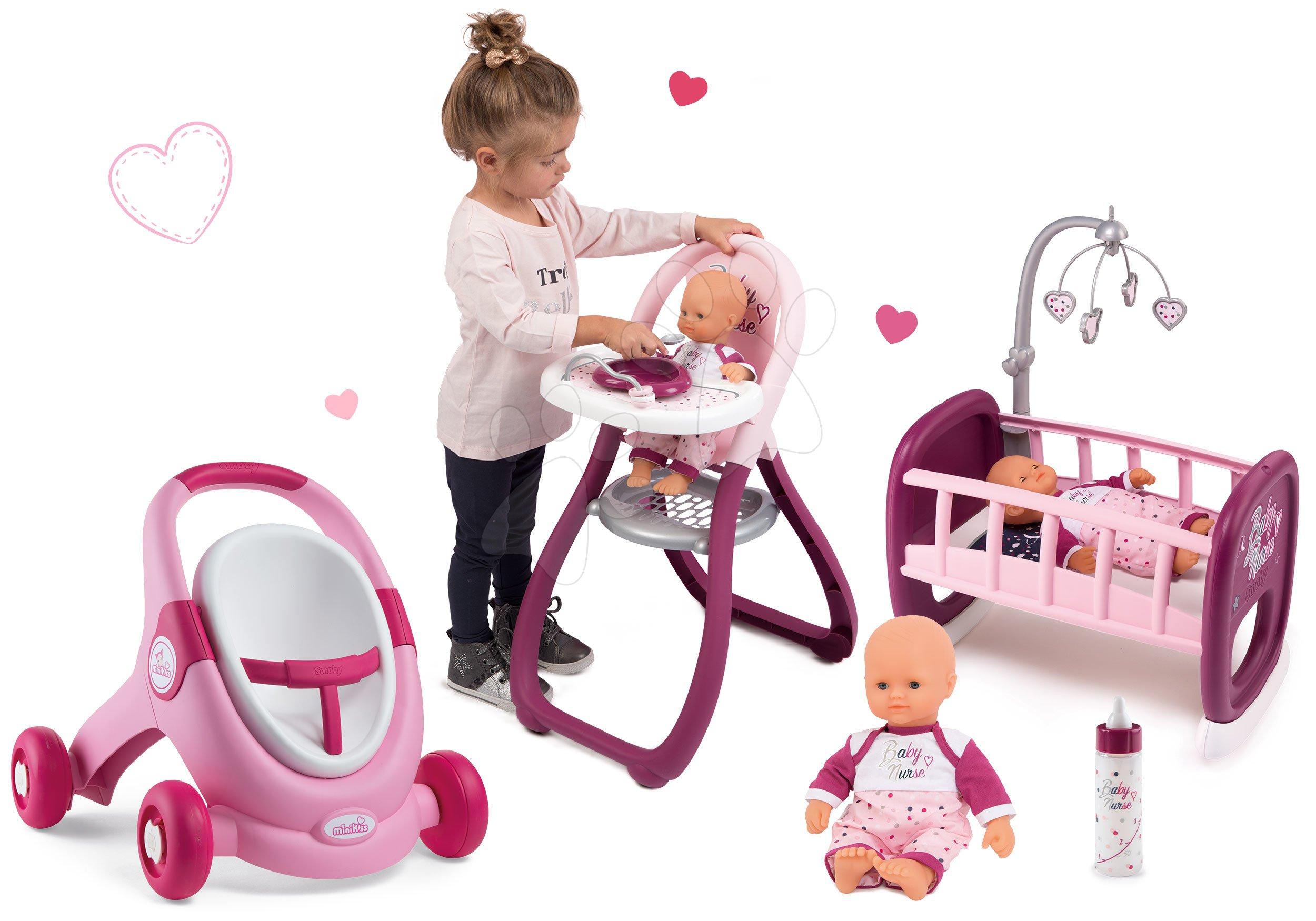Dětská chodítka - Set kočárek pro panenku a chodítko 2v1 MiniKiss Smoby a panenka s kolébkou a jídelní židle s láhví