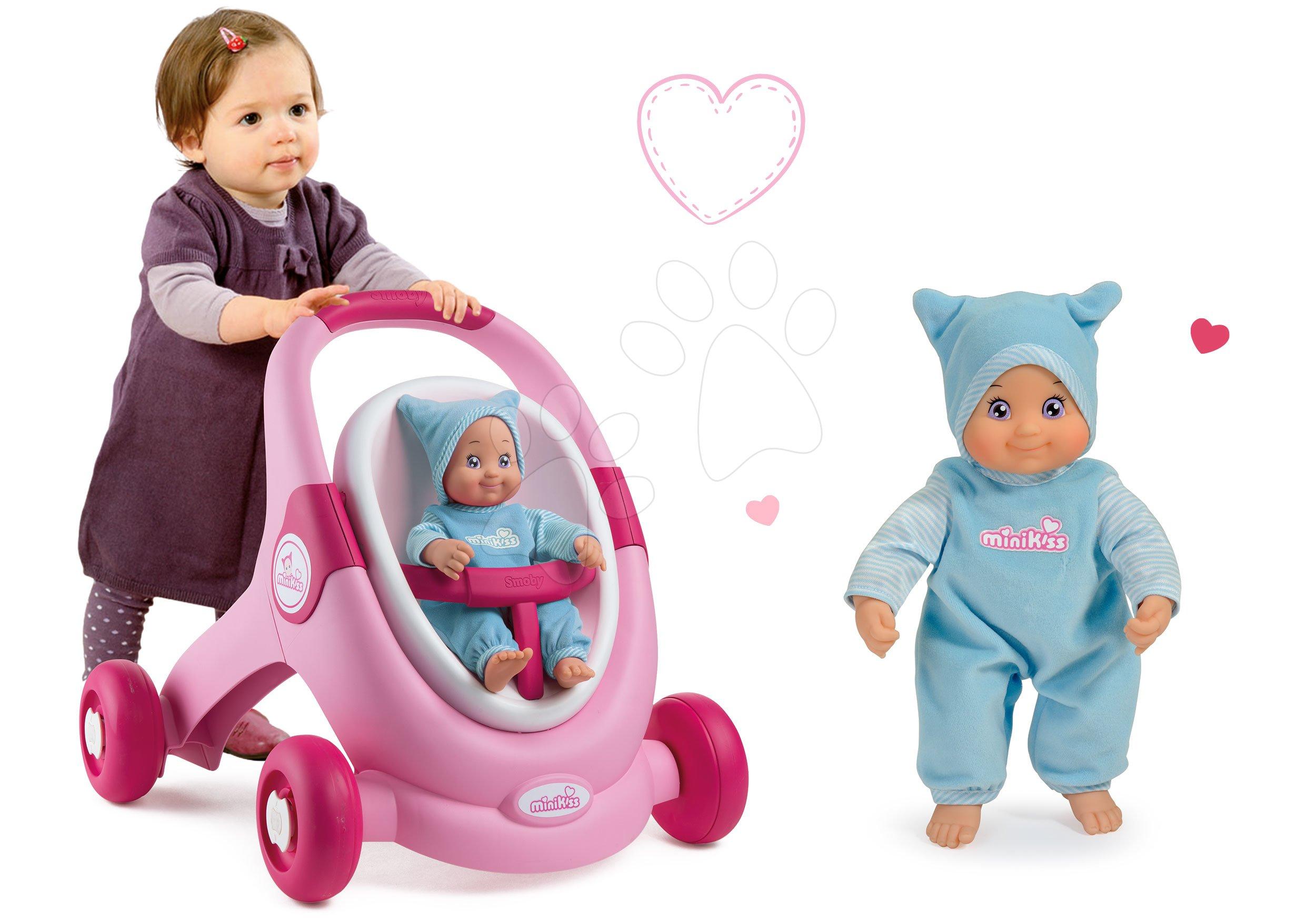 Kočárky pro panenky od 12 měsíců - Set chodítko a kočárek pro panenku 3v1 MiniKiss Smoby a panenka se zvukem MiniKiss v čepičce 27 cm od 12 měs