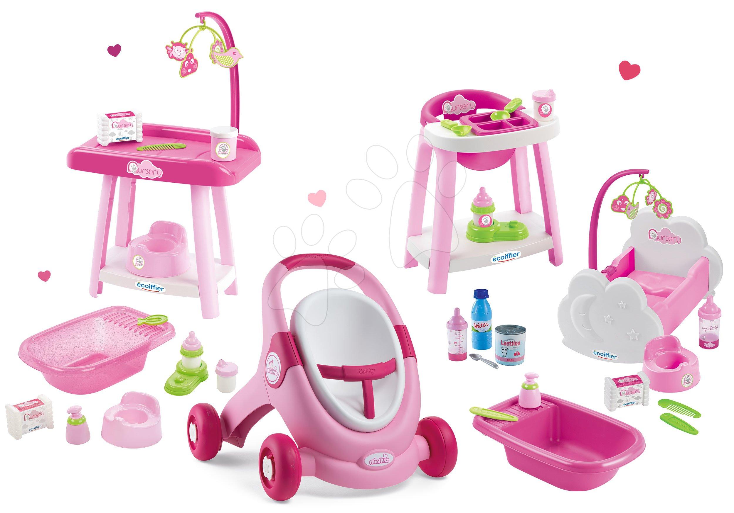 Set chodítko a kočárek pro panenku 3v1 MiniKiss Smoby s pečovatelským pultem se židlí a kolébka s vaničkou