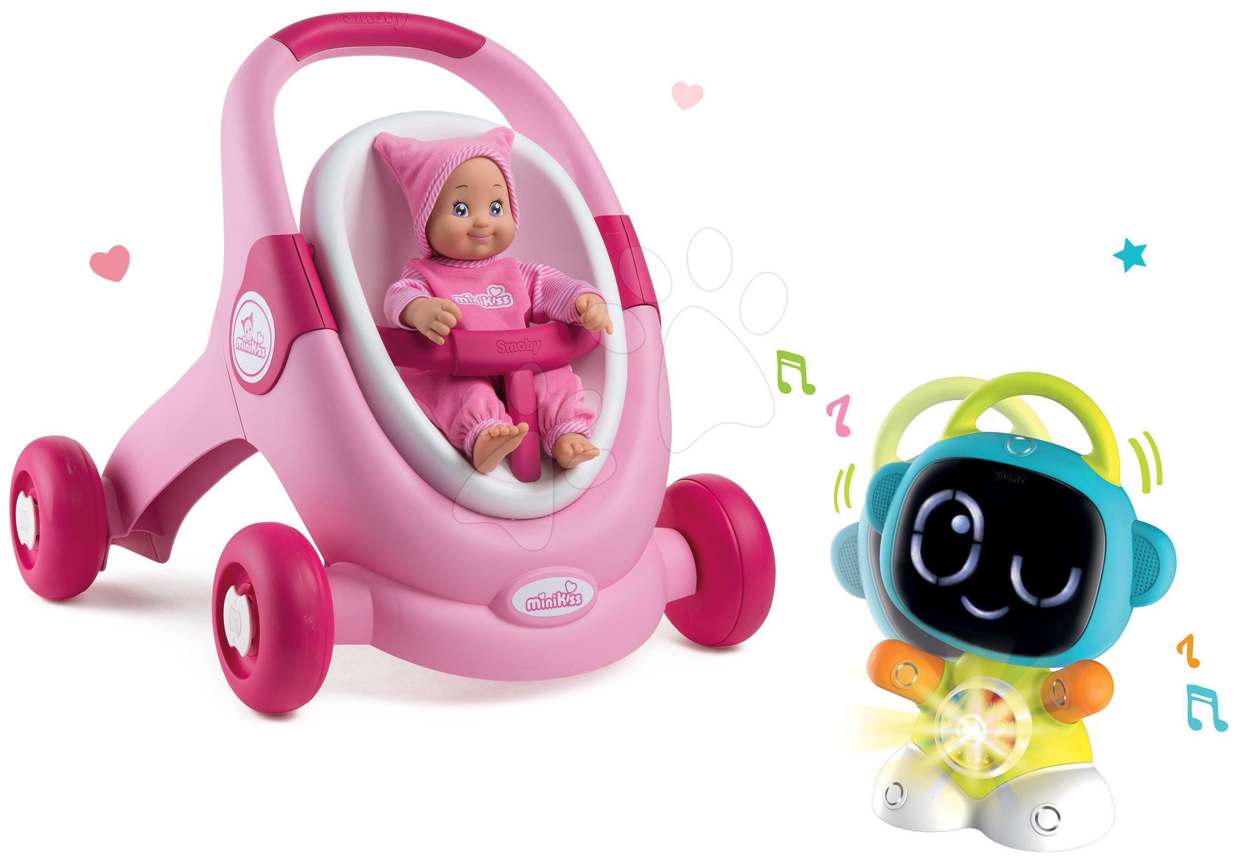 Set chodítko a kočárek s autosedačkou MiniKiss 3v1 Smoby s brzdou a interaktivní Robot TIC Smart Smoby