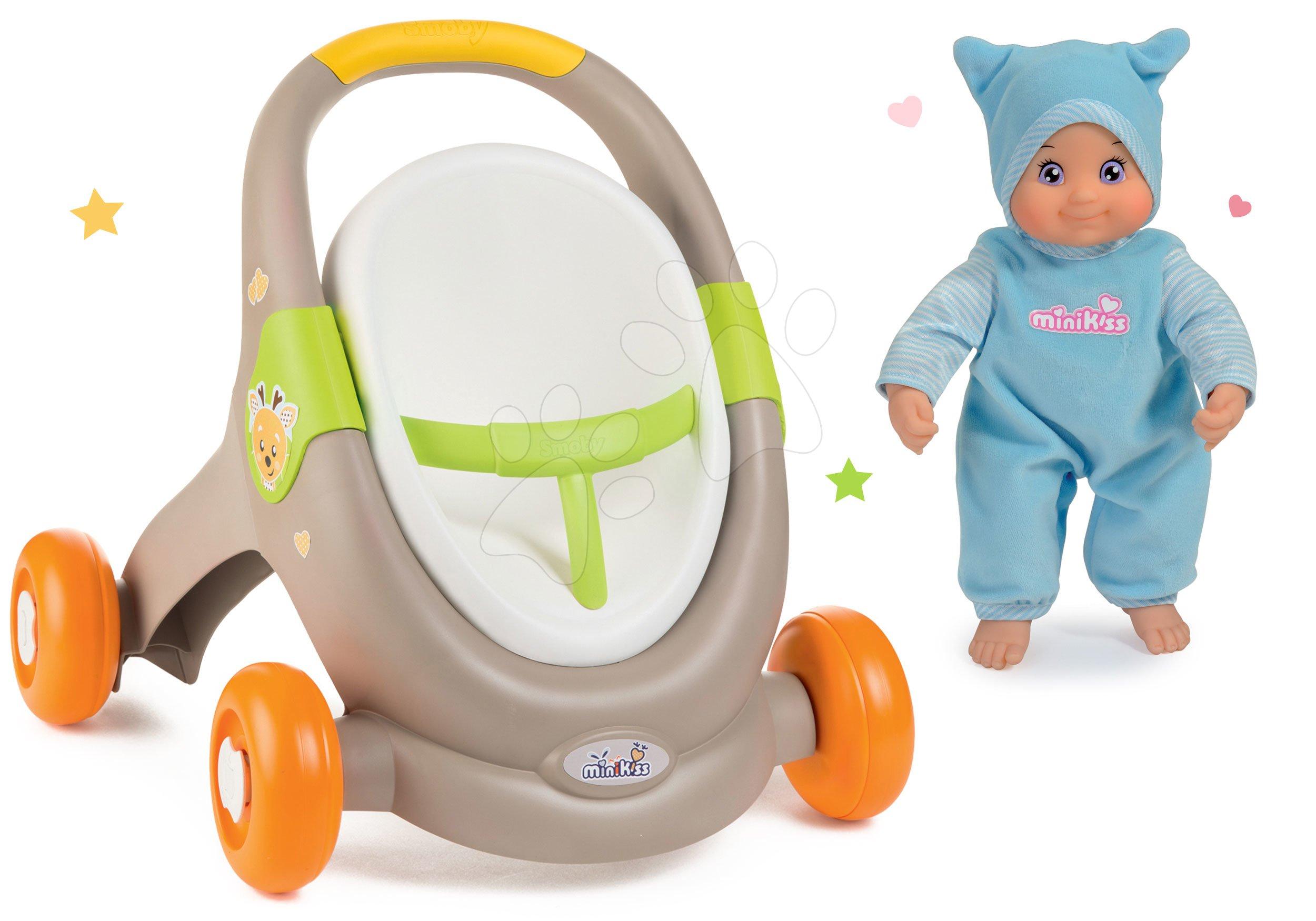 Set chodítko a kočík s autosedačkou zvieratká Animal MiniKiss 3v1 Smoby s brzdou a bábika so zvukom