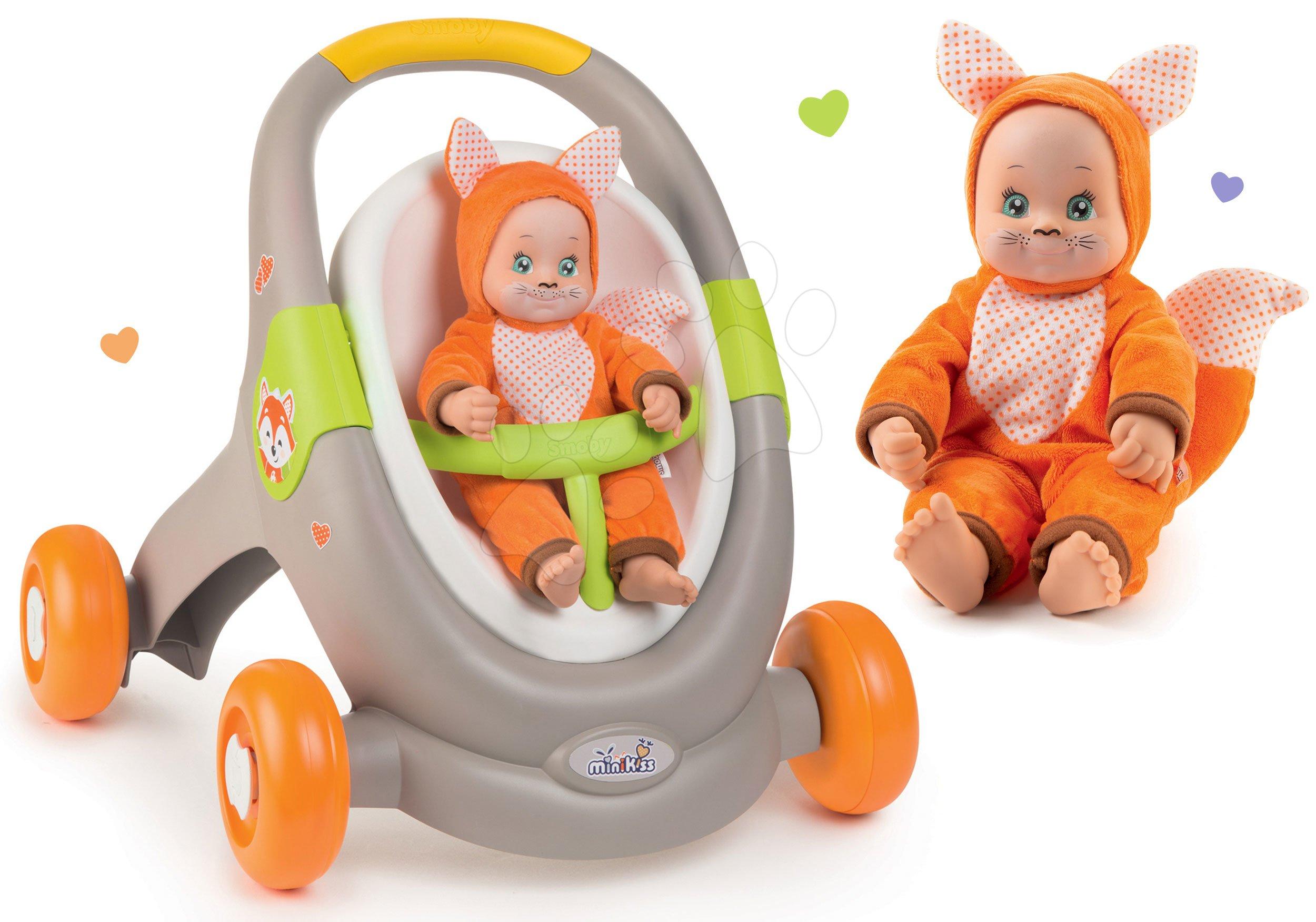 Set chodítko a kočík s autosedačkou zvieratká Animal Minikiss 3v1 Smoby s brzdou a bábika Líška Lesné Zvieratká so zvukom