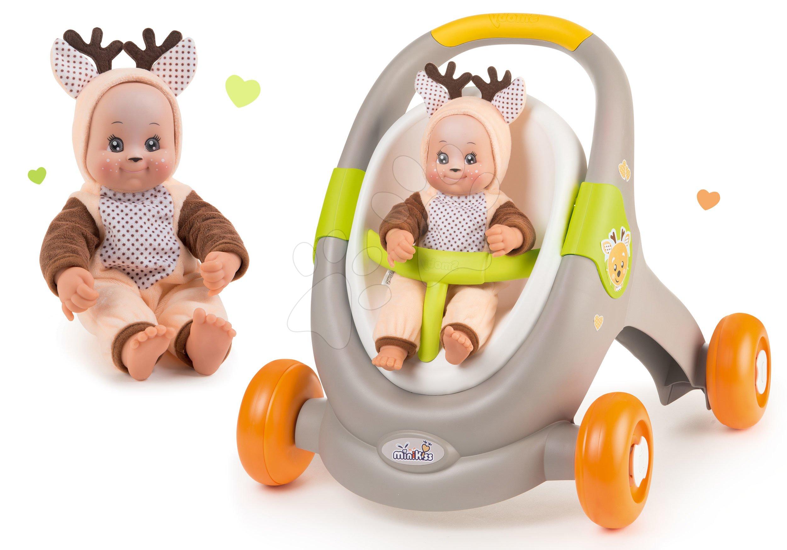 Set chodítko a kočík s autosedačkou zvieratká Animal Minikiss 3v1 Smoby s brzdou a bábika Srnček Lesné Zvieratká so zvukom