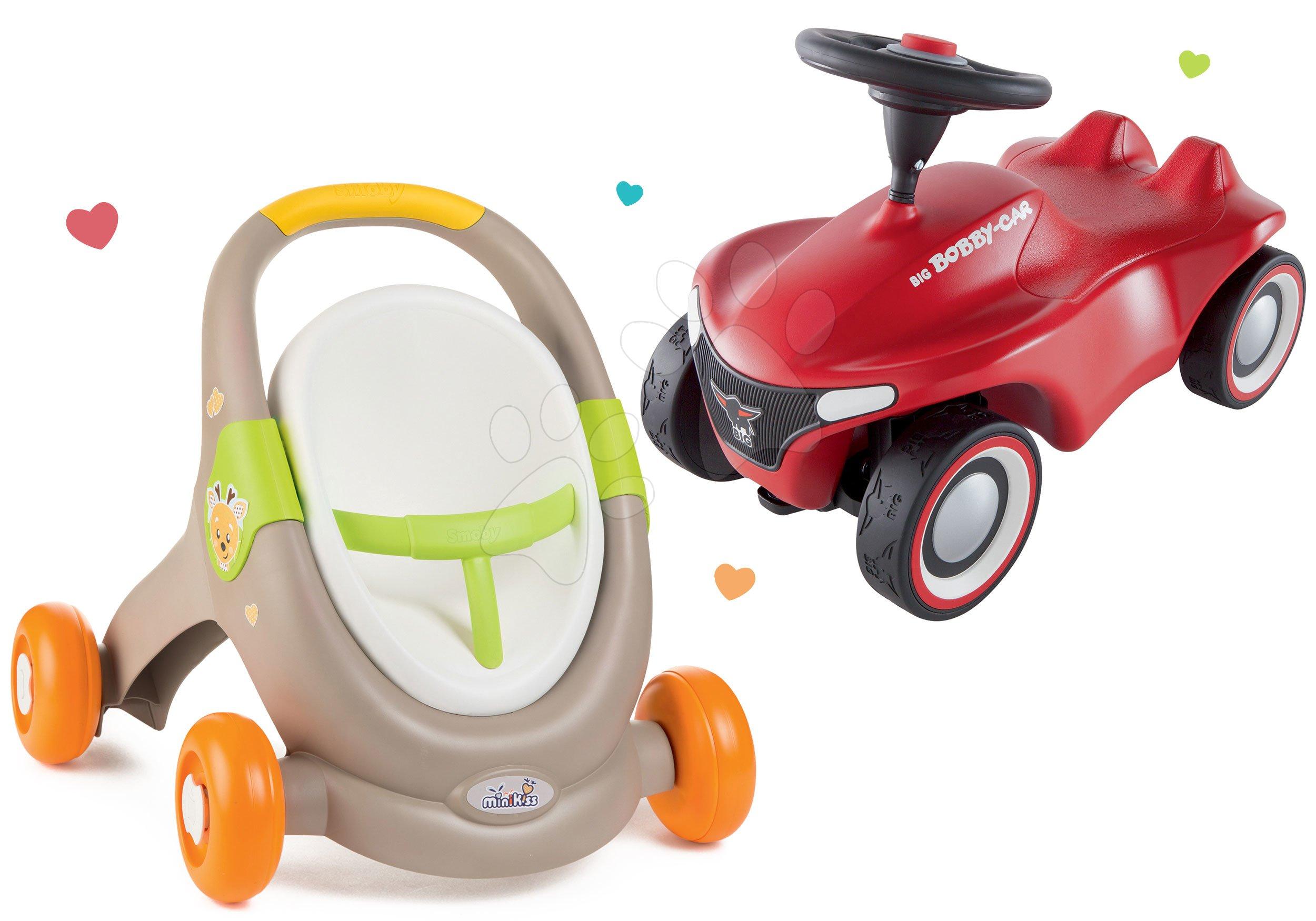 Set chodítko a kočík s autosedačkou zvieratká Animal MiniKiss 3v1 Smoby s brzdou a odrážadlo auto Bobby Car Neo Red