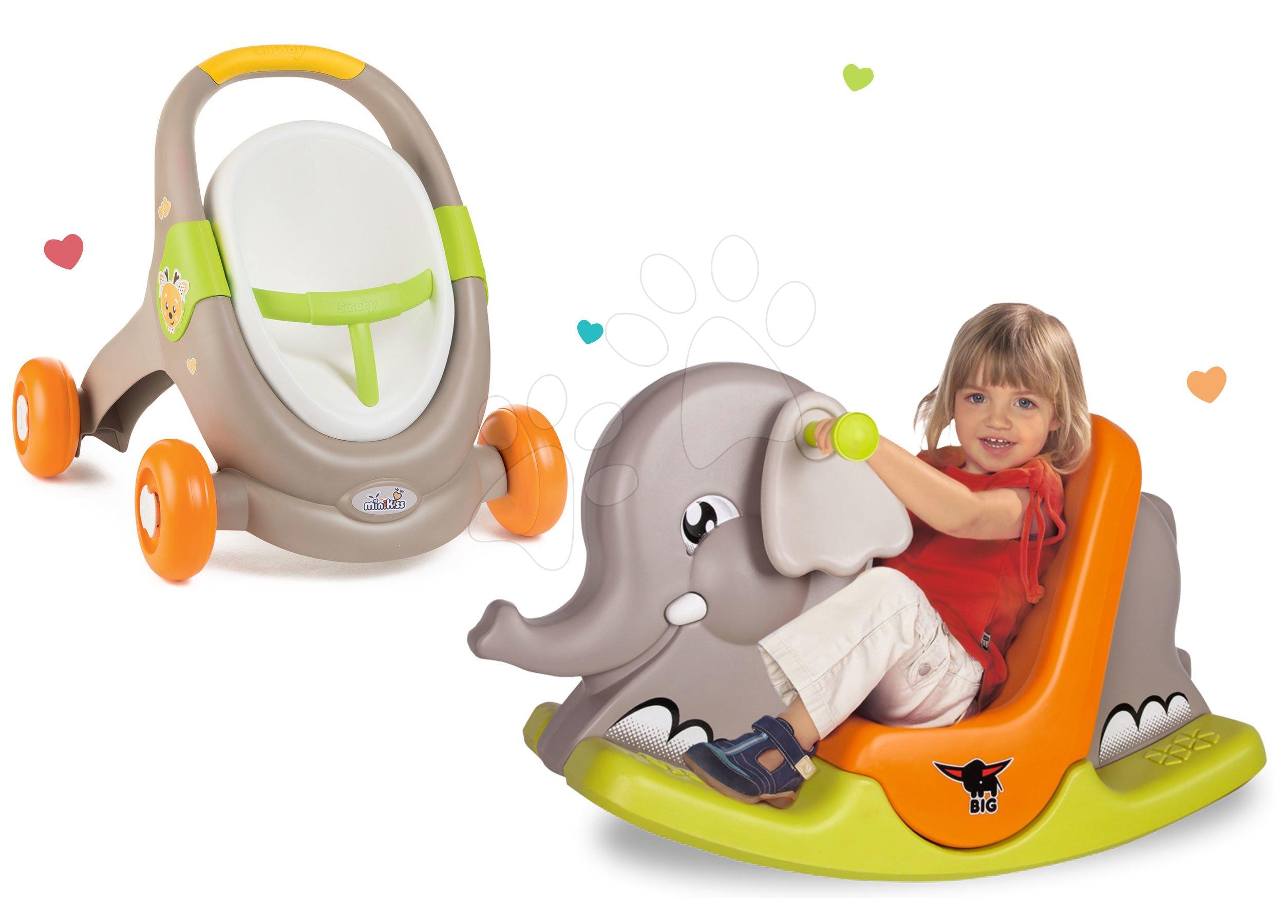 Set chodítko a kočík s autosedačkou zvieratká Animal MiniKiss 3v1 Smoby s brzdou a hojdačka Slon s pohyblivými ušami