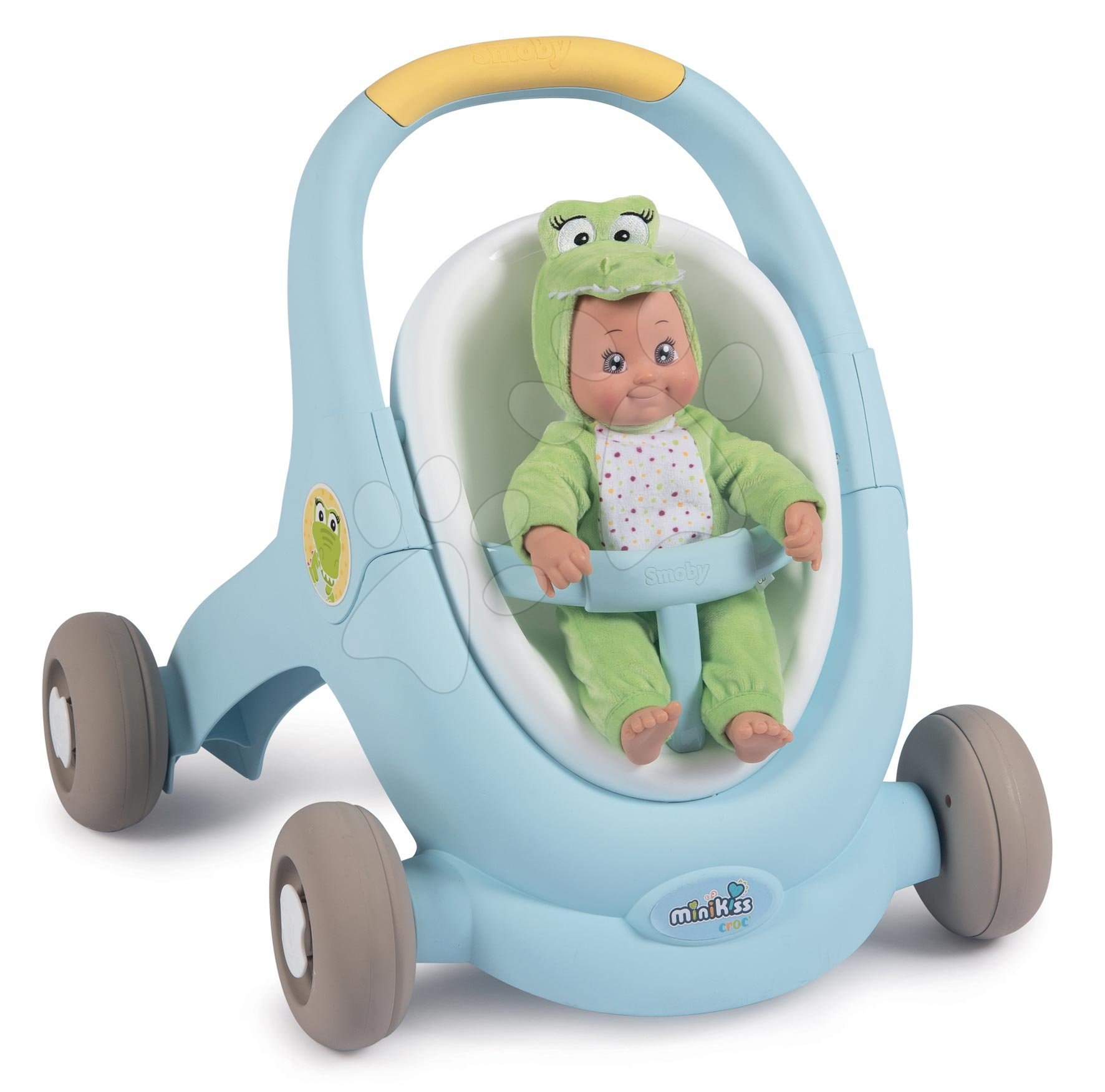 Dětská chodítka - Chodítko a kočárek pro panenku Croc Baby Walker MiniKiss 3in1 Smoby s brzdou a bezpečnostním pásem od 12 měsíců