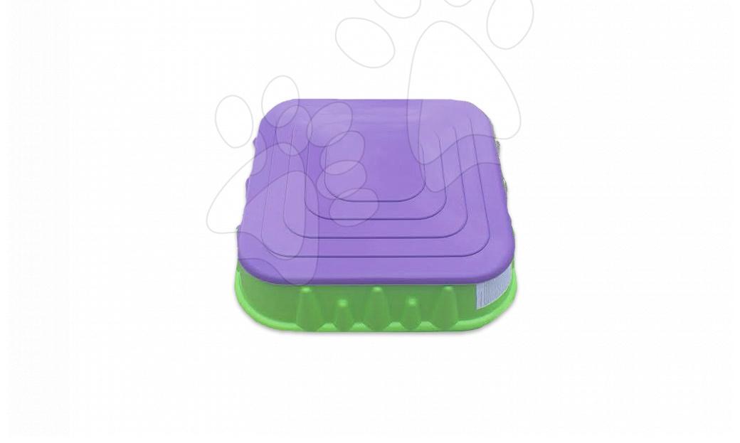 Pieskoviská pre deti - Pieskovisko Starplast štvorcové s krytom objem 60 litrov zeleno-fialové od 24 mes