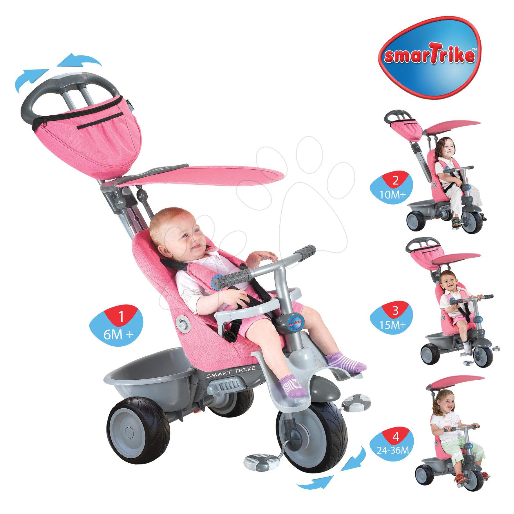Dětská tříkolka Recliner 4v1 smarTrike s polohovatelnou opěrkou od 6 měsíců růžovo-šedá