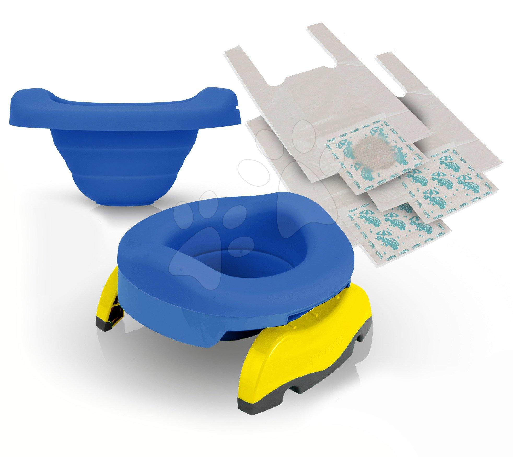 Sada cestovní nočník/redukce na WC Potette Plus 2v1 Kalencom modrá se silikonovou vložkou + 10 ks náhradních náplní a cestovní taška od 15 měsíců