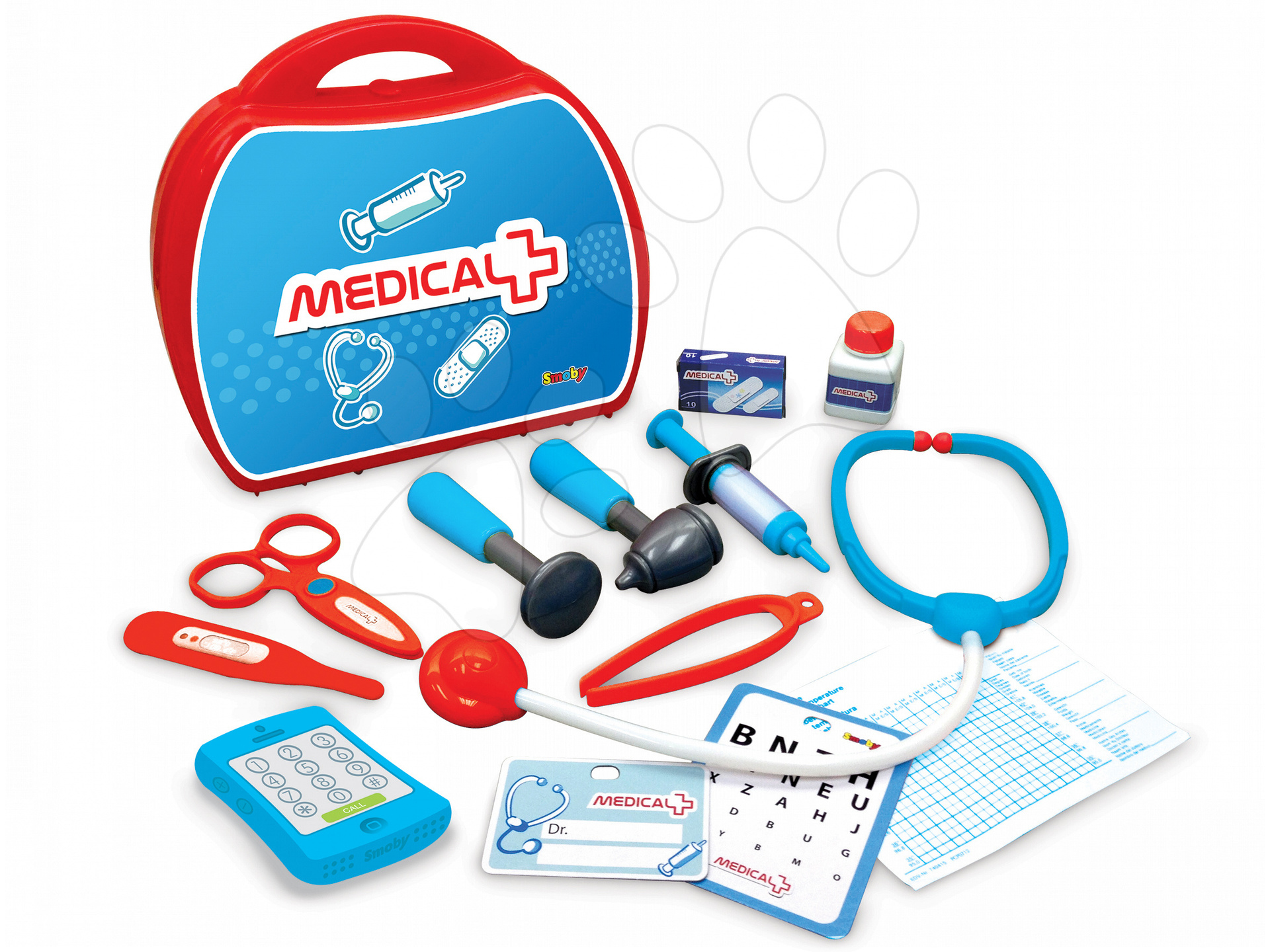 Lekárské vozíky pre deti - Lekársky kufrík Smoby červený s 13 doplnkami