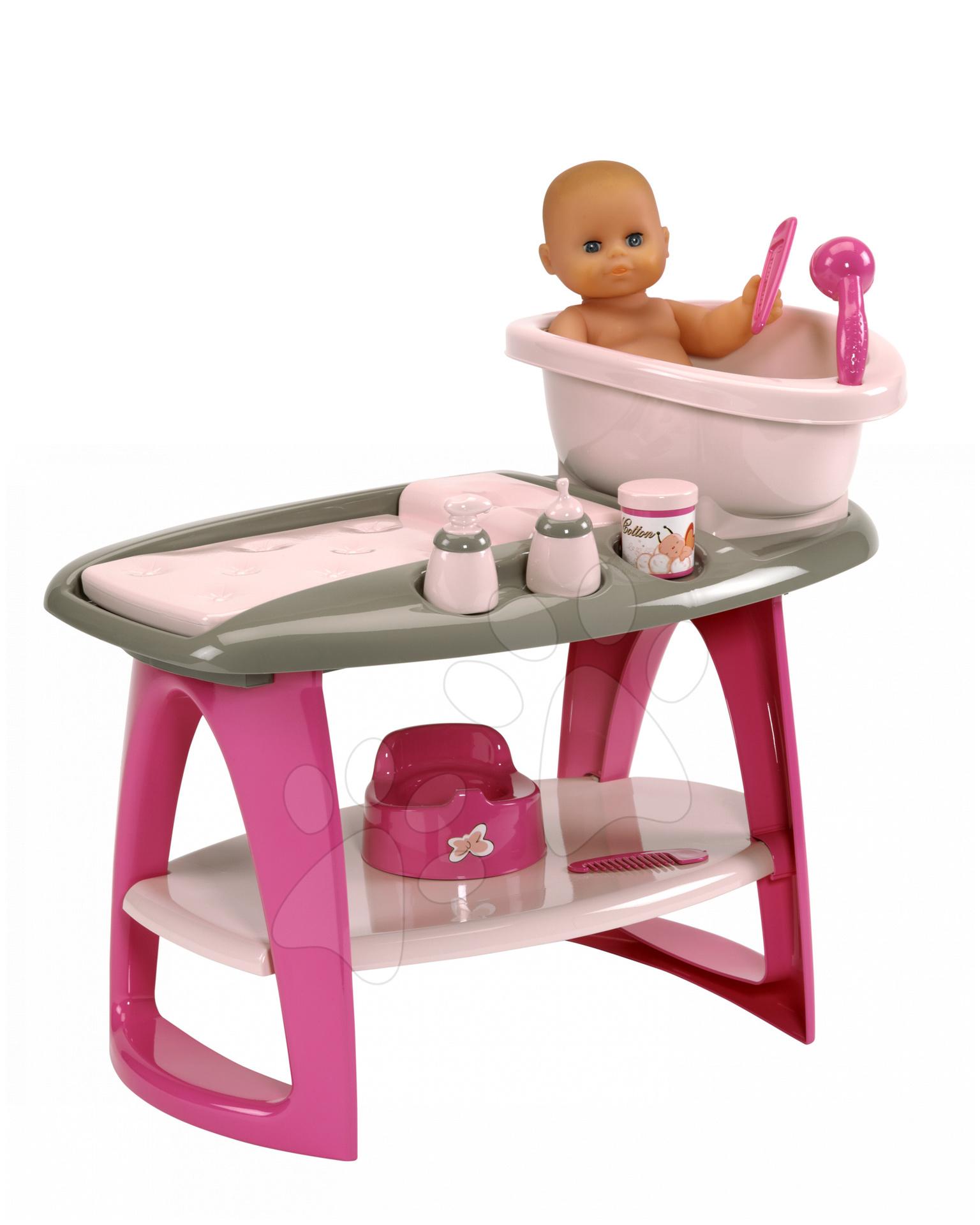 Staré položky - Prebaľovací stolík Écoiffier s kúpelňou a poličkou Nursery a 8 doplnkov od 18 mes