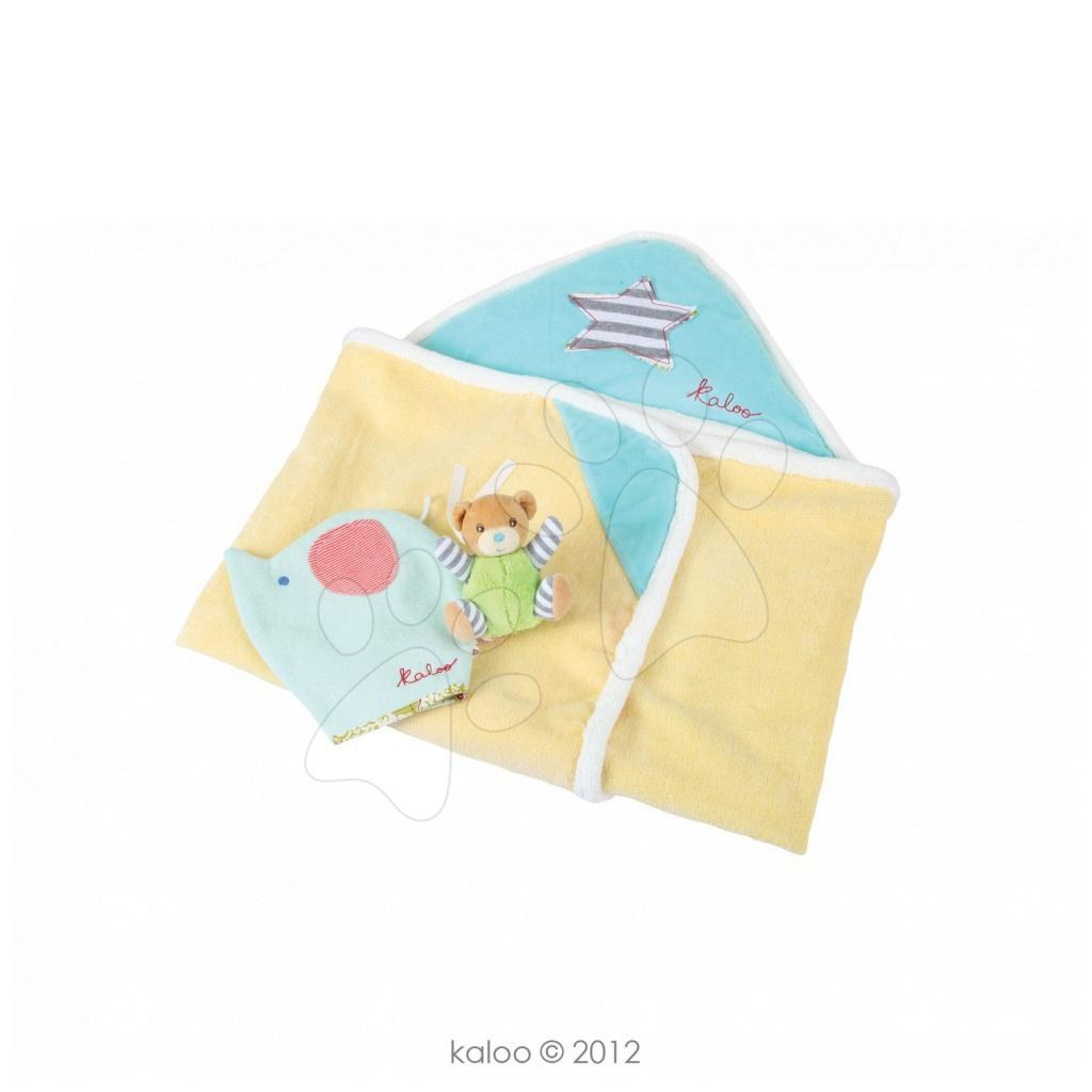 Dojčenské osušky - Osuška s kapucňou pre najmenších Bliss-Bath Boy Kaloo so žinkou a medvedíkom modro-žltá