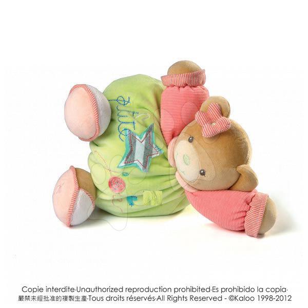 Plyšové medvede - Plyšový medvedík Bliss-Chubby Bear Kaloo 25 cm v darčekovom balení pre najmenších zeleno-ružový