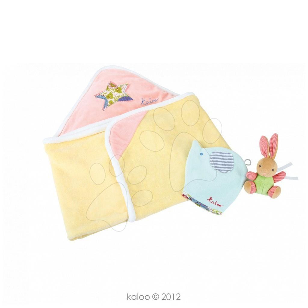 Osuška s kapucňou pre najmenších Bliss-Bath Girl Kaloo so žinkou a zajačikom ružovo-žltá od 0 mesiacov