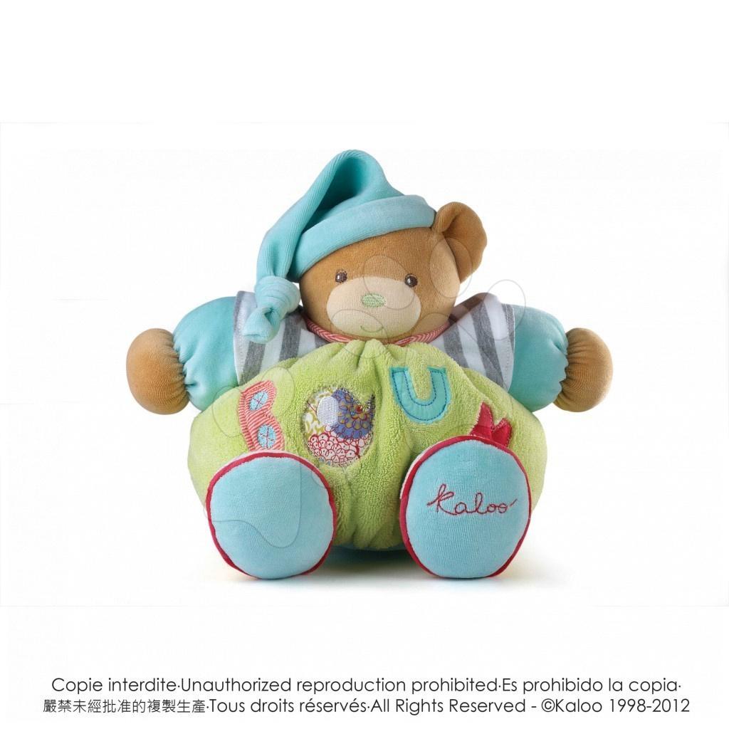 Plyšové medvede - Plyšový medvedík Bliss-Chubby Bear Kaloo s hrkálkou 30 cm v darčekovom balení pre najmenších modro-zelený
