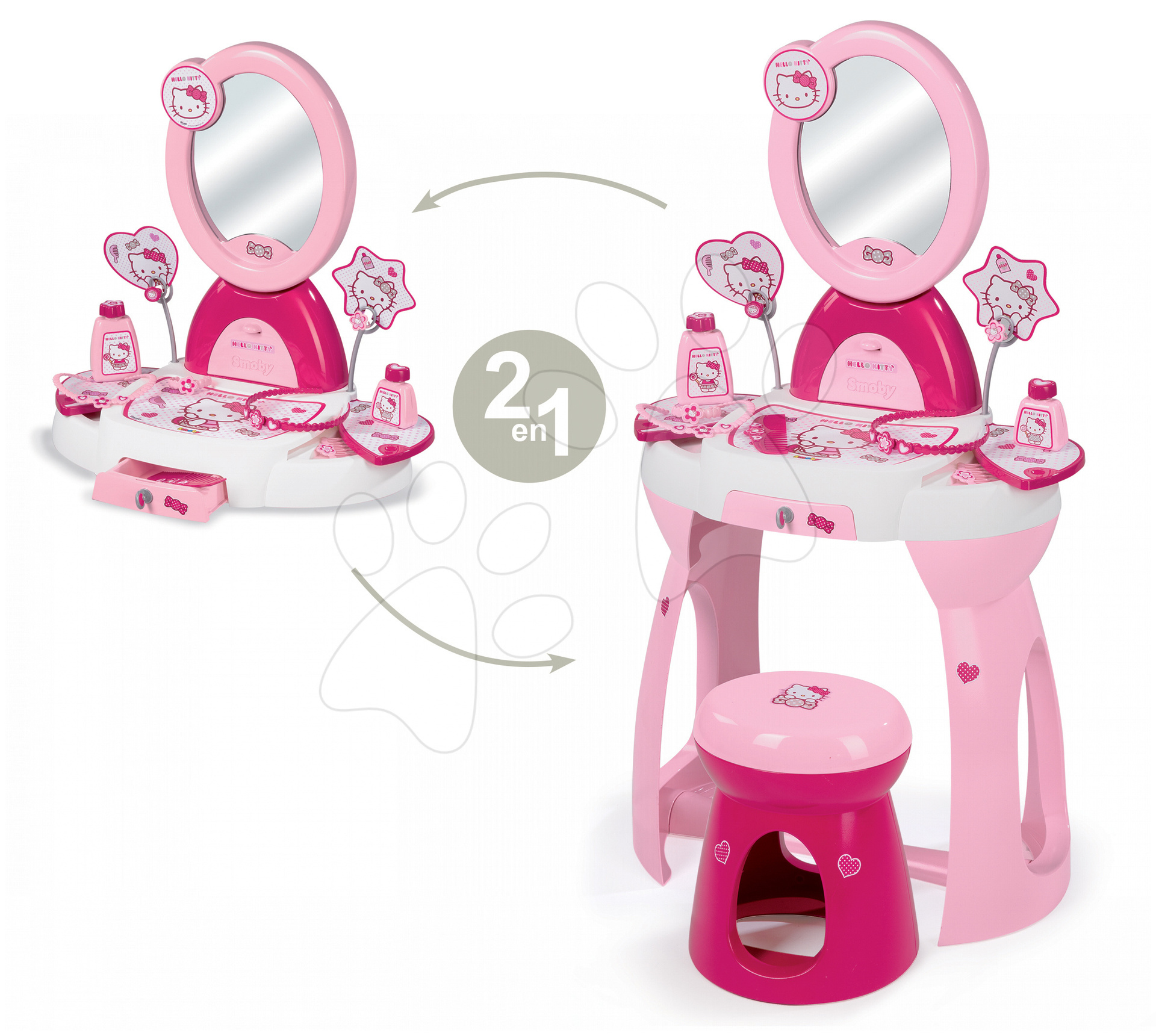 Staré položky - Kozmetický stolík Hello Kitty 2v1 Smoby so stoličkou a 9 doplnkami