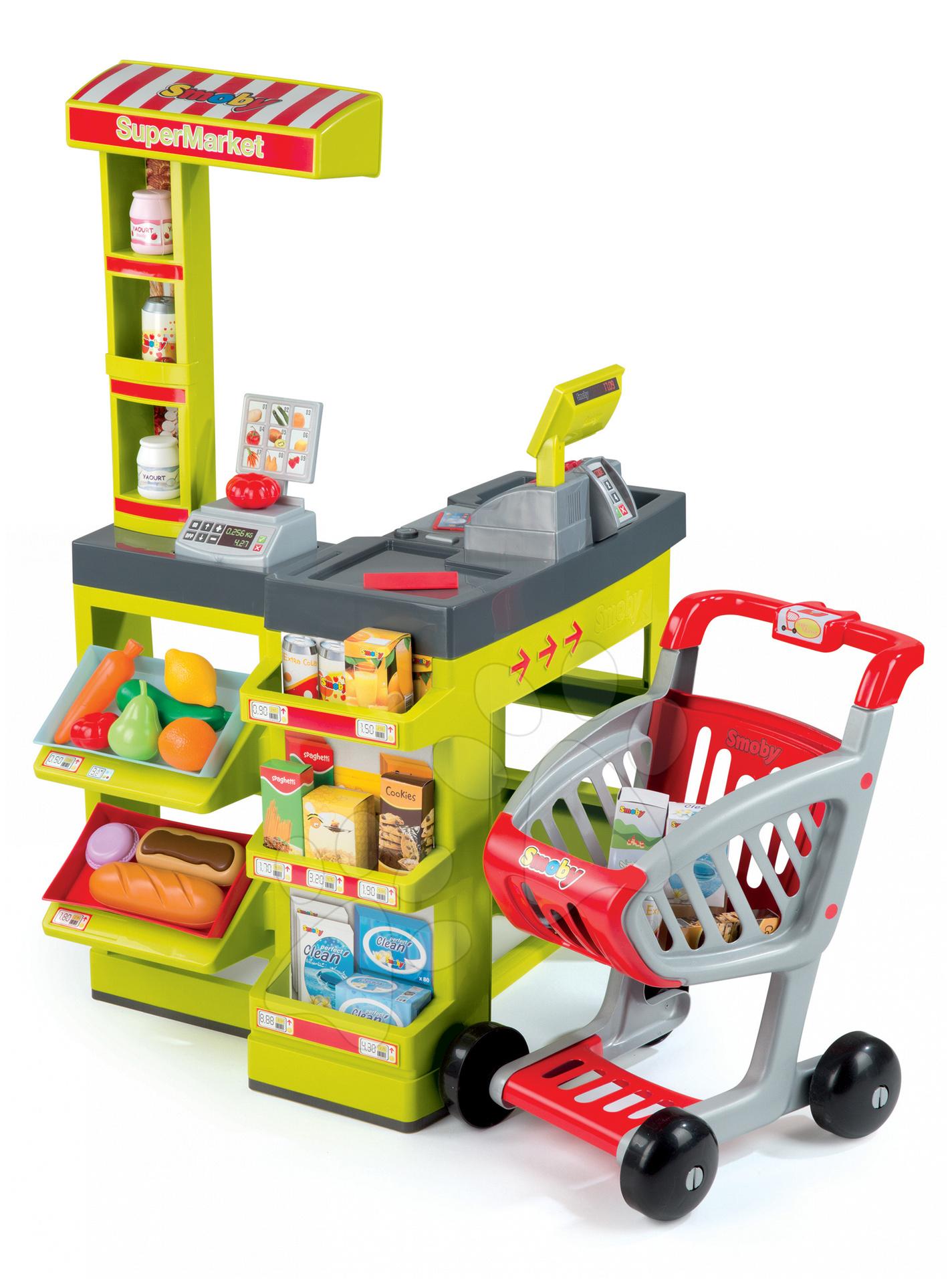 Obchody pre deti - Obchod SuperMarket Smoby s vozíkom a 49 doplnkami