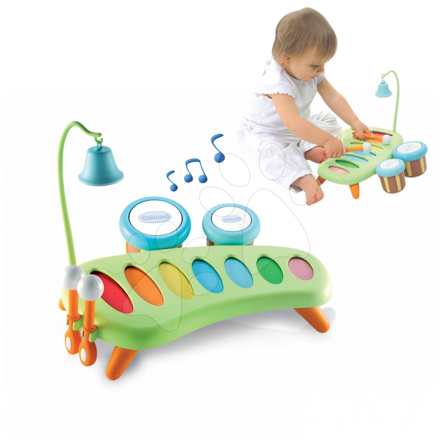 Instrument muzical xilofon Cotoons Smoby cu tobe şi cu clopoţel de la 12 luni