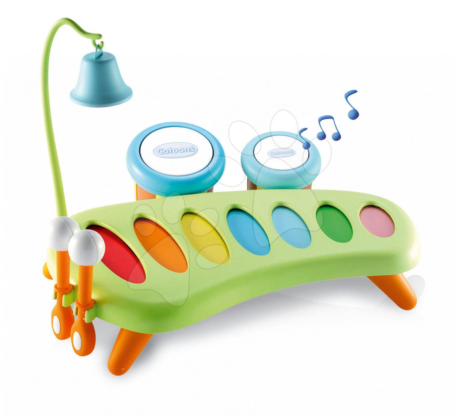 Smoby dětský hudební xylofon Cotoons s bubny a zvonkem 211013 zelený