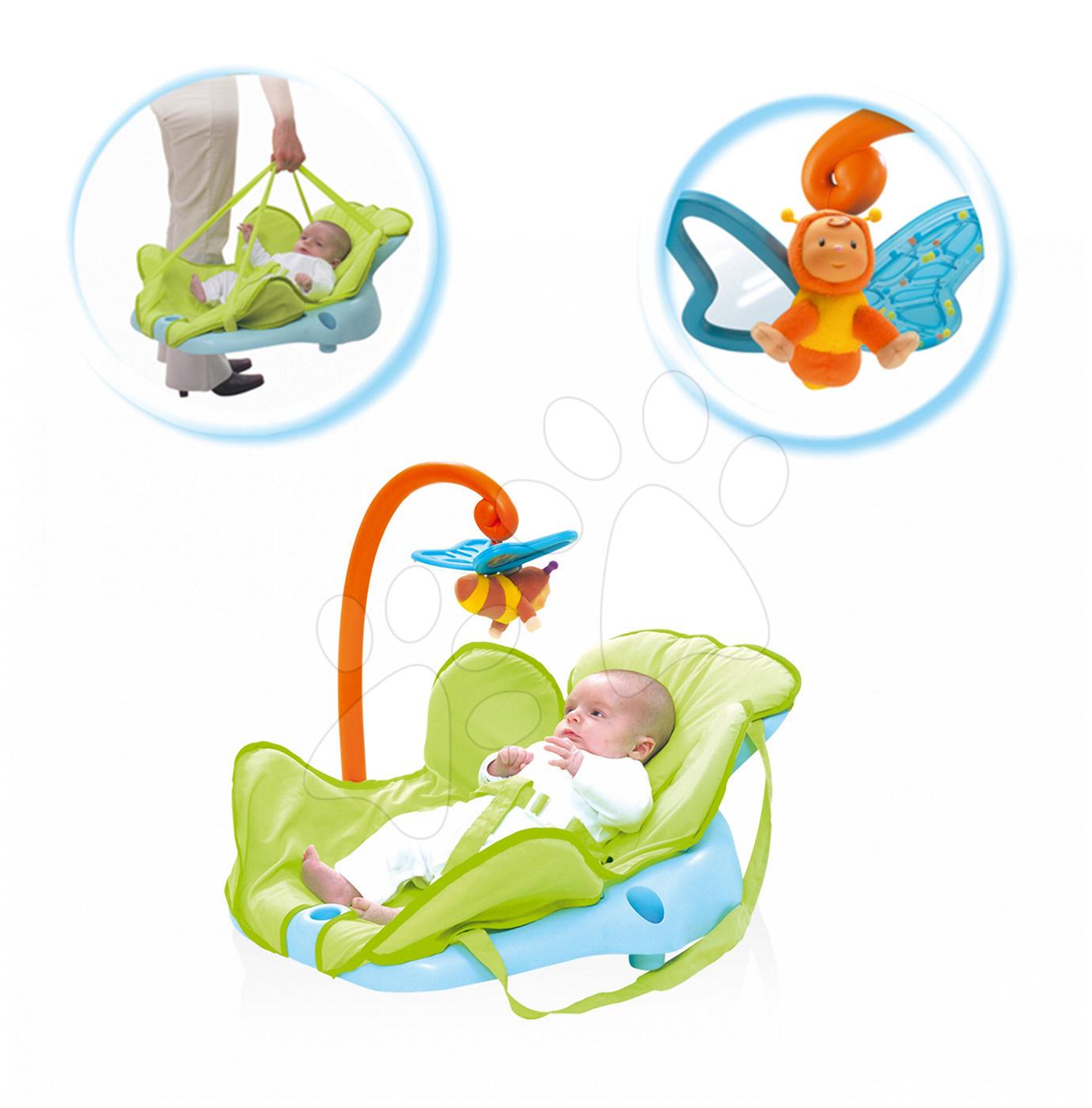 Dětské sedačky - Lehátko Cotoons Smoby s motýlkem pro nejmenší modro-zelené