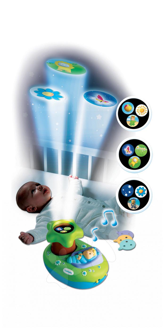 Világító projektor kiságyhoz Cotoons Smoby zenével kisbabáknak zöld-kék