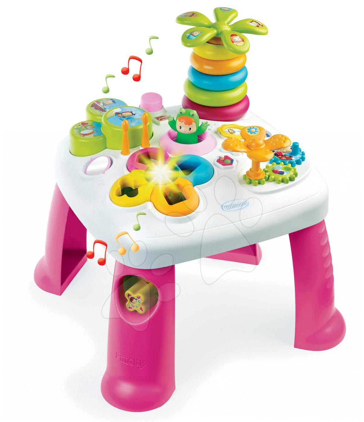 Interaktívne hudobné stoly - Didaktický stolík Cotoons Smoby so svetlom a zvukom ružový od 12 mes