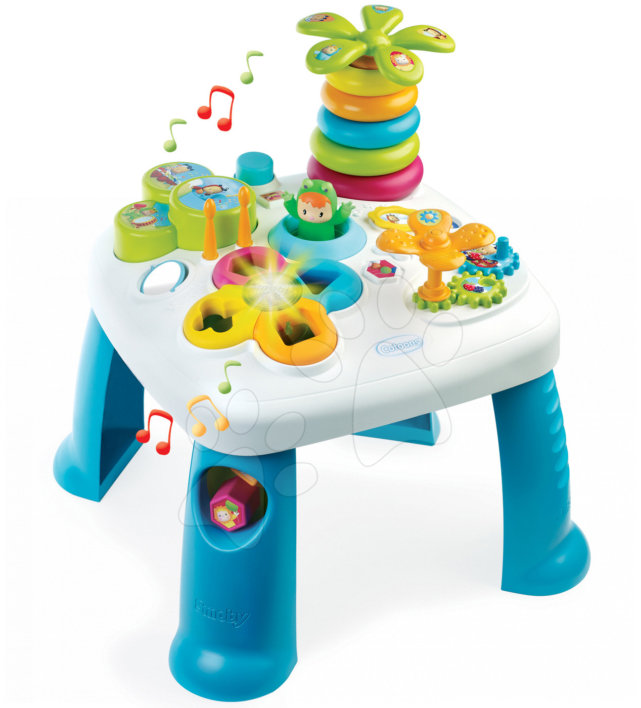 Interaktívne hudobné stoly - Didaktický stolík Cotoons Smoby s funkciami so svetlom a zvukom modrý od 12 mes