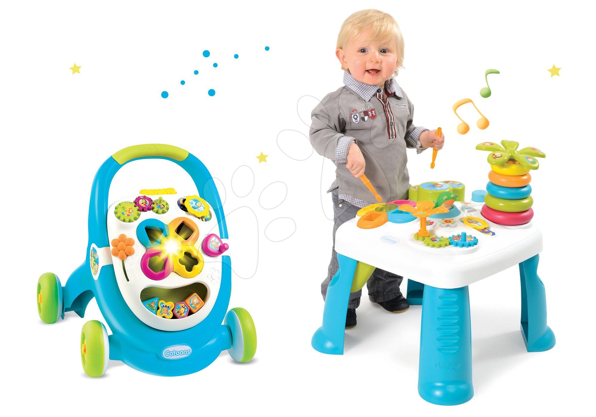 Smoby set didaktický stolík Cotoons a chodítko s kockami 211067-1 modrý