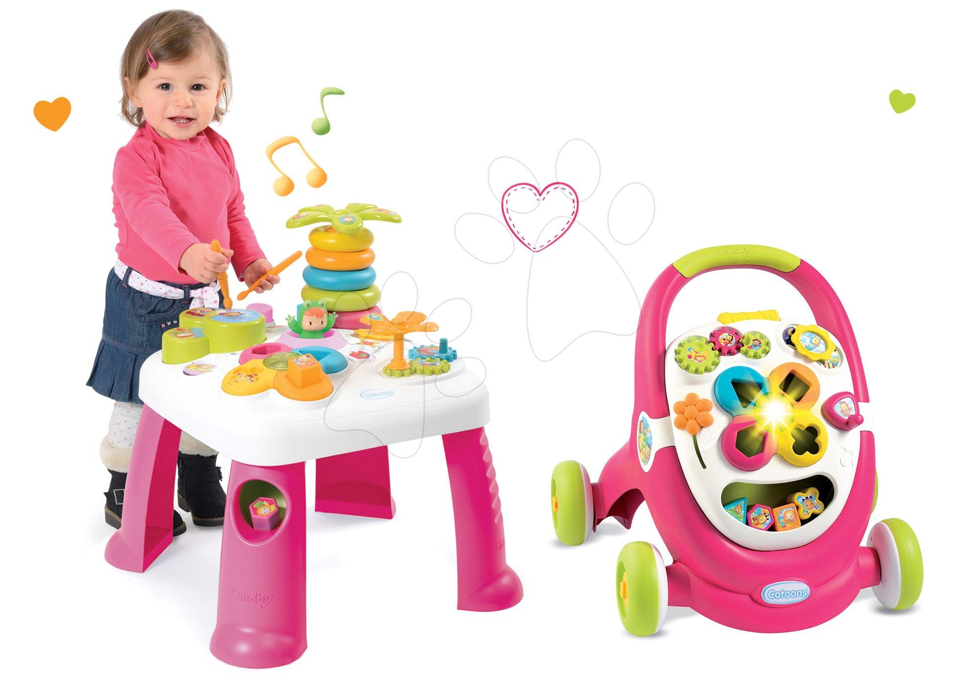 Didaktický stolík Cotoons Smoby s funkciami ružový+chodítko s kockami, svetlom a melódiou ružové 211067-6