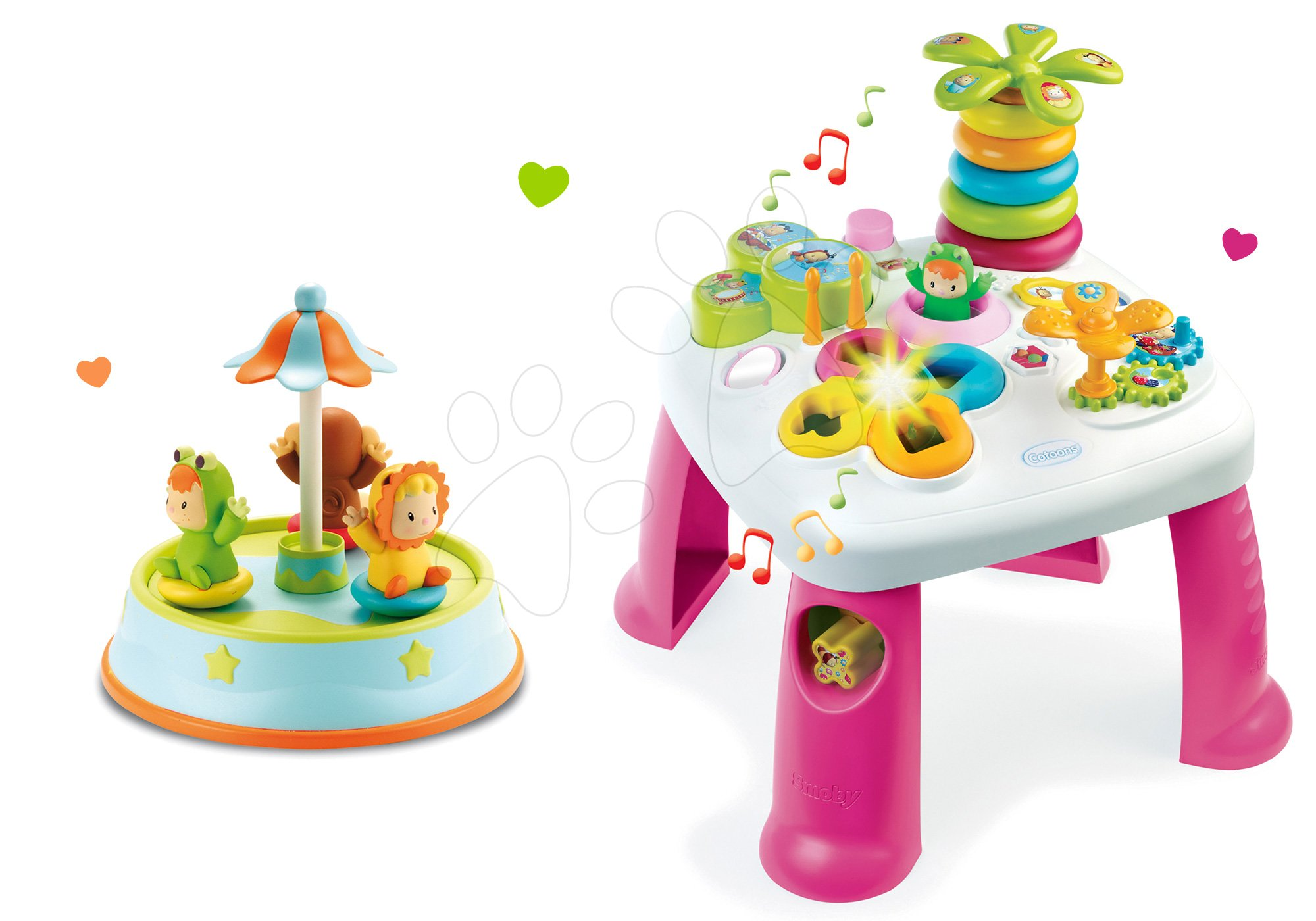 Komplet didaktična mizica Cotoons Smoby s funkcijami rožnata in vrtiljak s plešočimi figuricami in melodijami