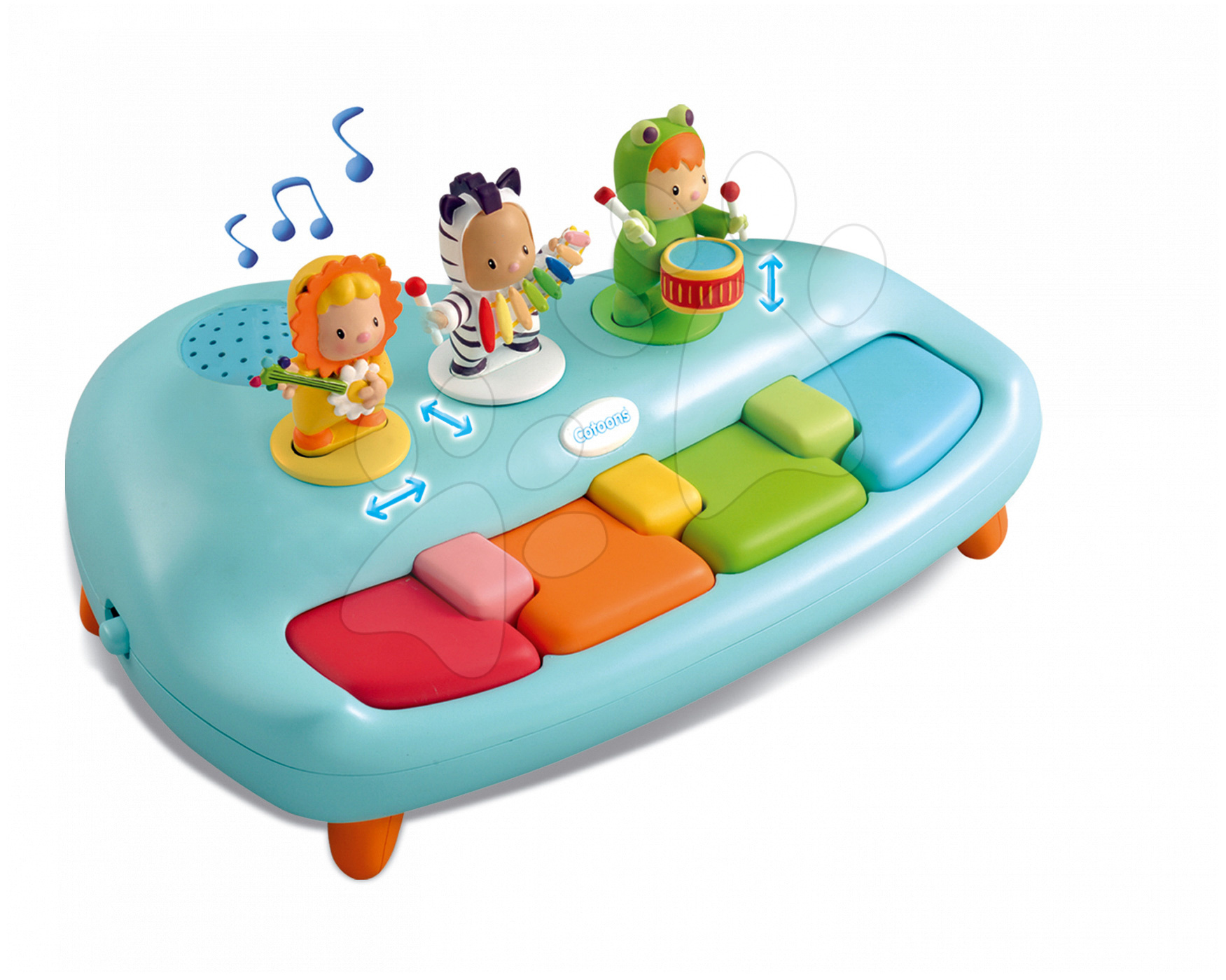 Piano Cotoons Smoby z melodijami in figuricami moder od 12 mes