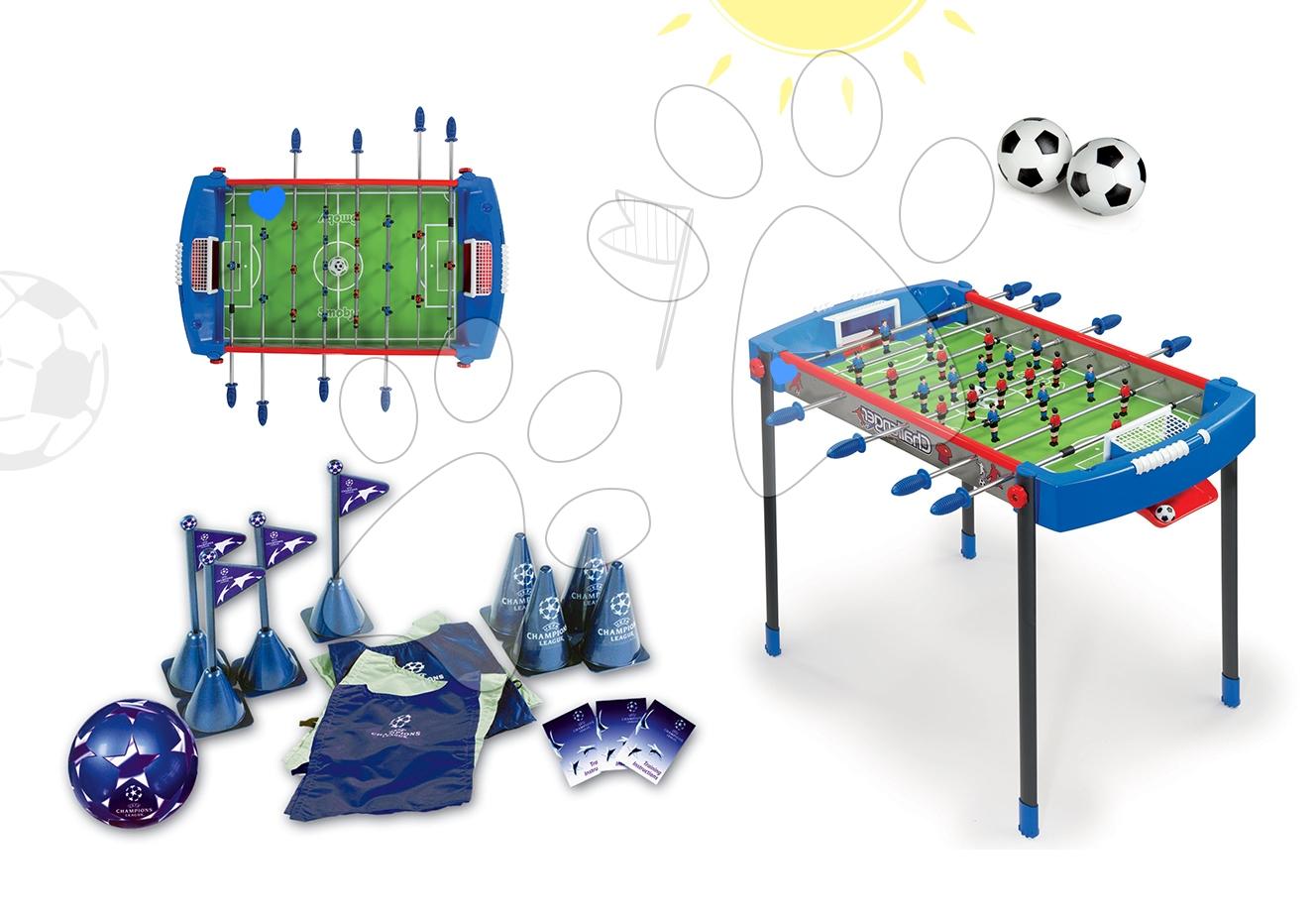 Set fotbalový stůl Challenger Smoby a fotbalový set s kužely a míčem od 6 let