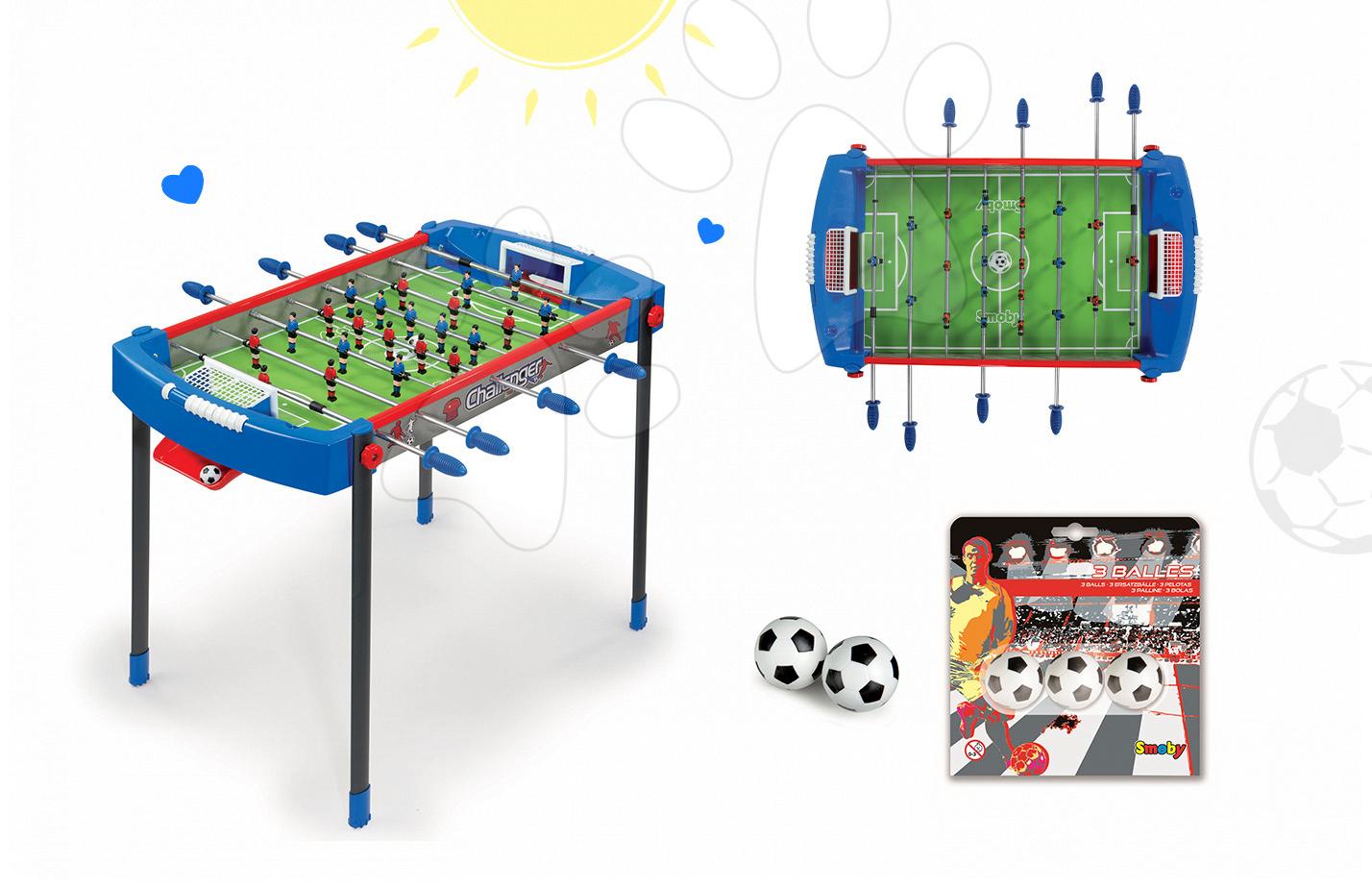 Stolný futbal - Set futbalový stôl Challenger Smoby a náhradné loptičky od 6 rokov