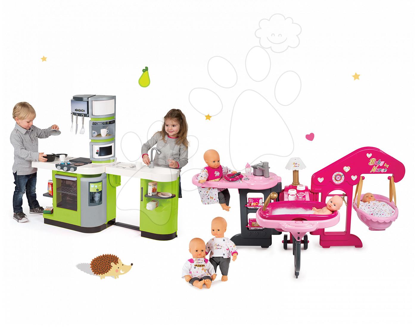 Set kuchyňka CookMaster Verte s ledem Smoby a domeček s panenkou Baby Nurse Zlatá edice