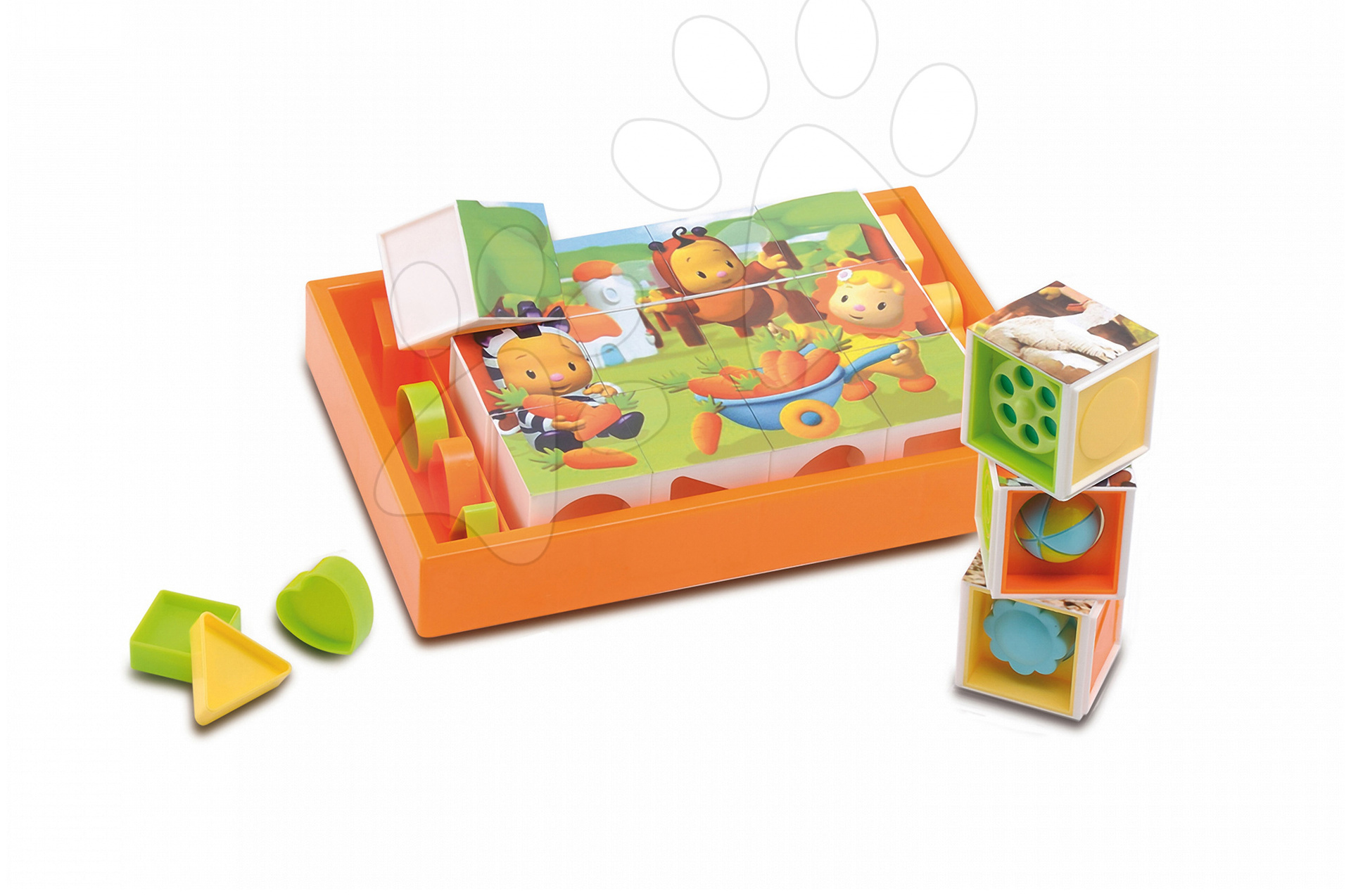 Rozprávkové kocky Cotoons Smoby s vkladacími formami 12 dielov oranžové od 12 mes